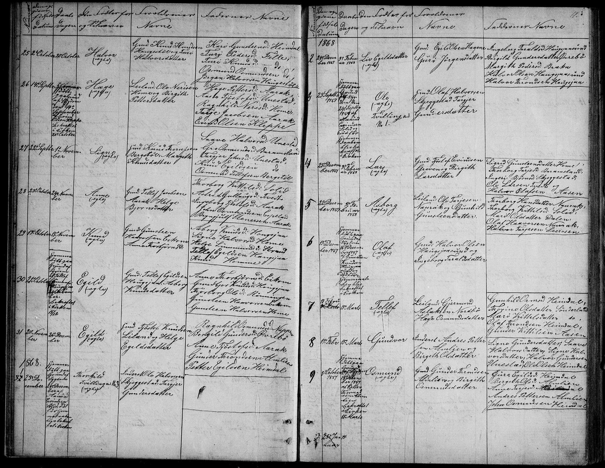 SAKO, Nissedal kirkebøker, G/Gb/L0002: Klokkerbok nr. II 2, 1863-1892, s. 11