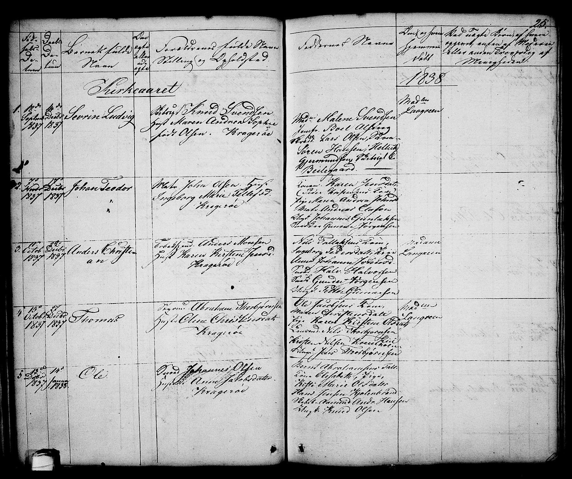 SAKO, Kragerø kirkebøker, G/Ga/L0003: Klokkerbok nr. 3, 1832-1852, s. 25