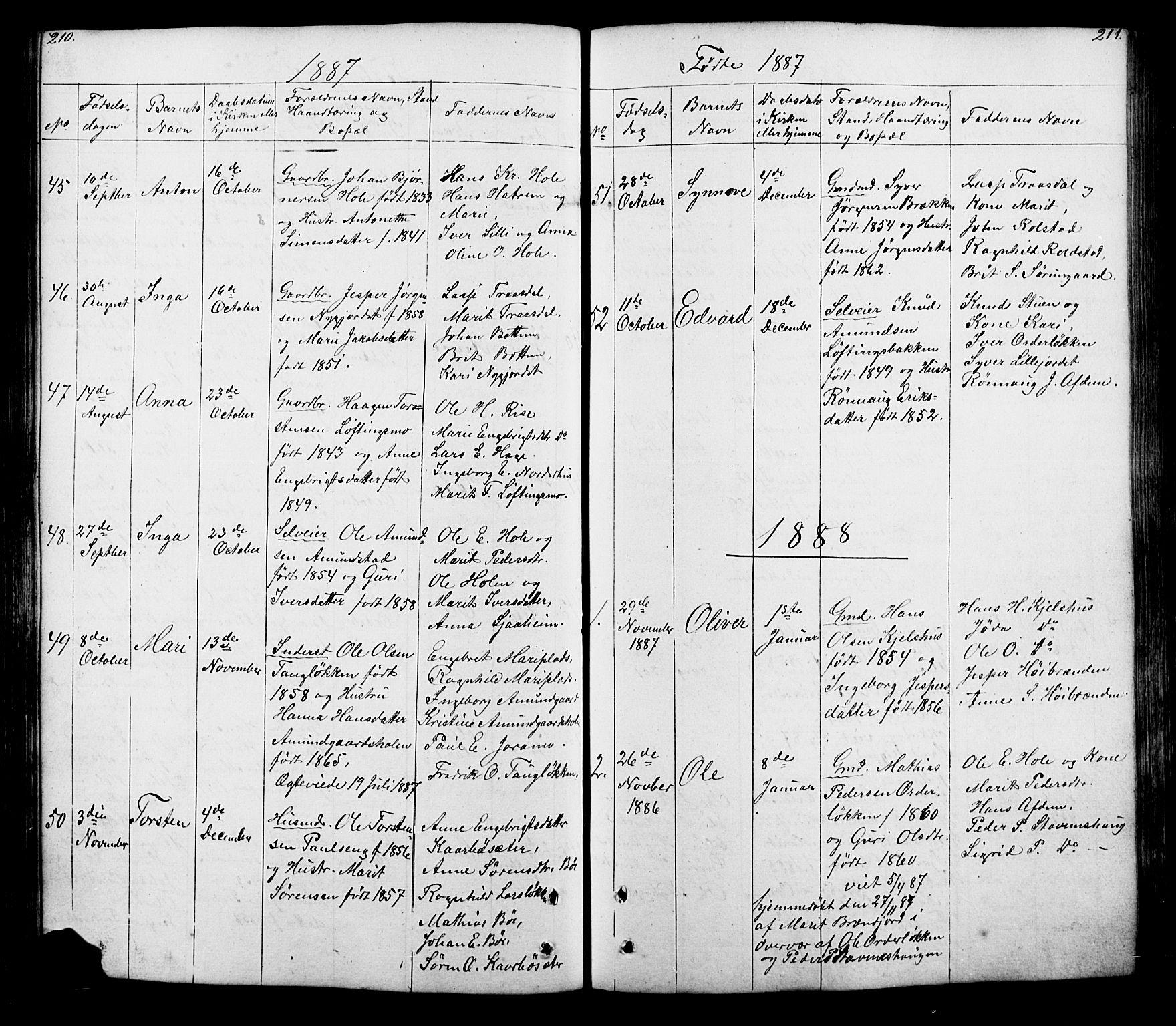 SAH, Lesja prestekontor, Klokkerbok nr. 5, 1850-1894, s. 210-211