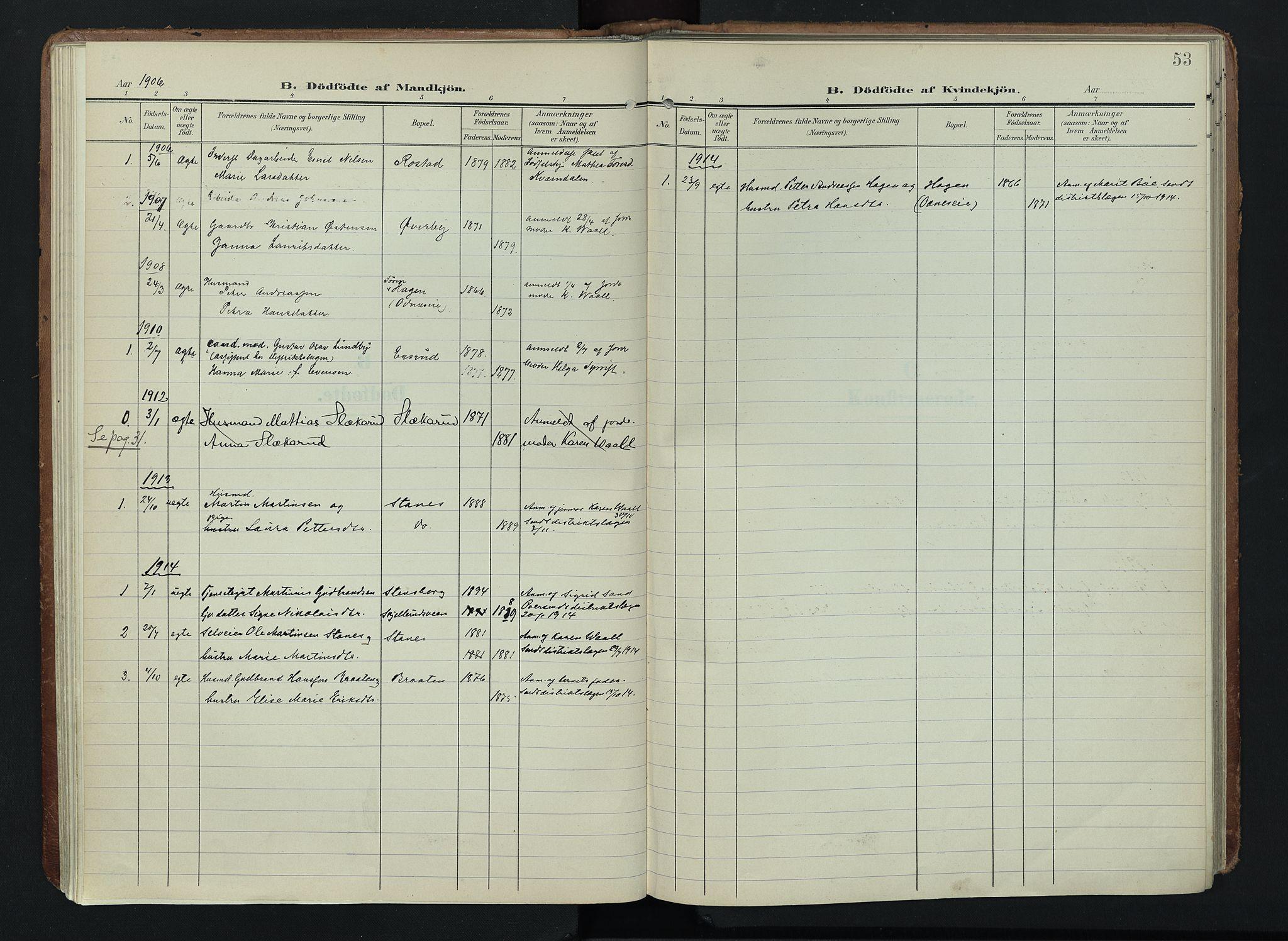 SAH, Søndre Land prestekontor, K/L0005: Ministerialbok nr. 5, 1905-1914, s. 53
