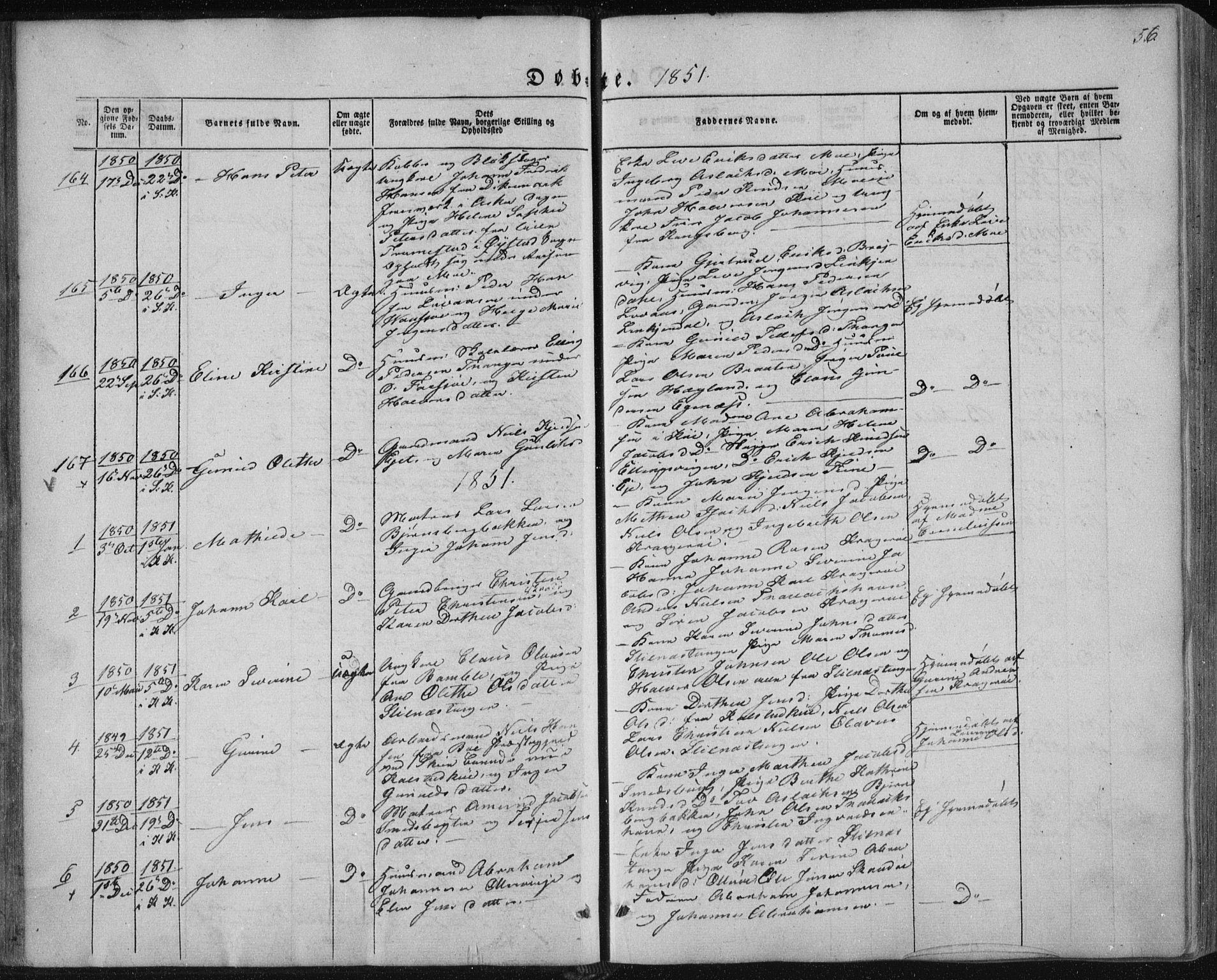 SAKO, Sannidal kirkebøker, F/Fa/L0008: Ministerialbok nr. 8, 1847-1862, s. 56