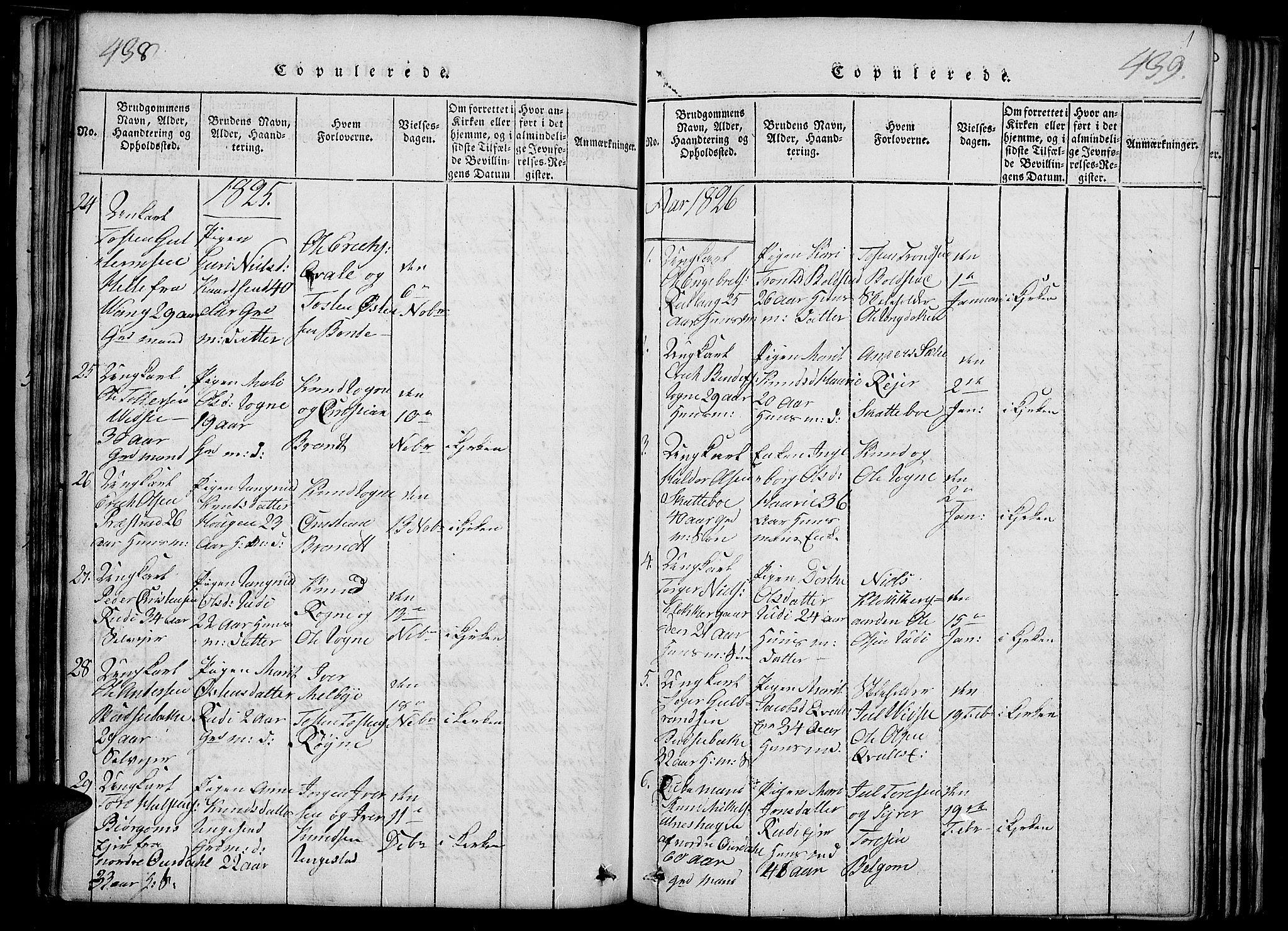 SAH, Slidre prestekontor, Ministerialbok nr. 2, 1814-1830, s. 438-439