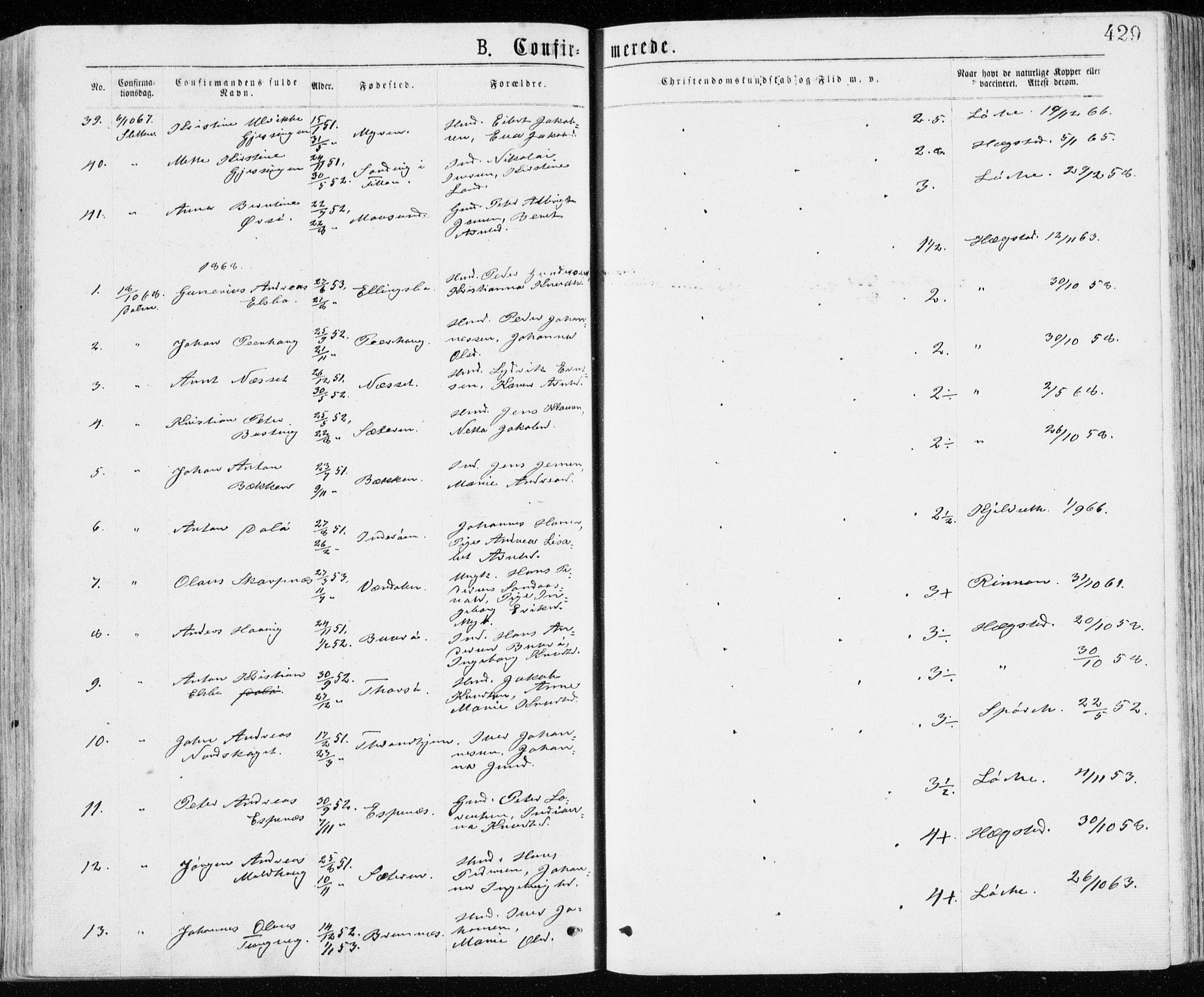 SAT, Ministerialprotokoller, klokkerbøker og fødselsregistre - Sør-Trøndelag, 640/L0576: Ministerialbok nr. 640A01, 1846-1876, s. 429