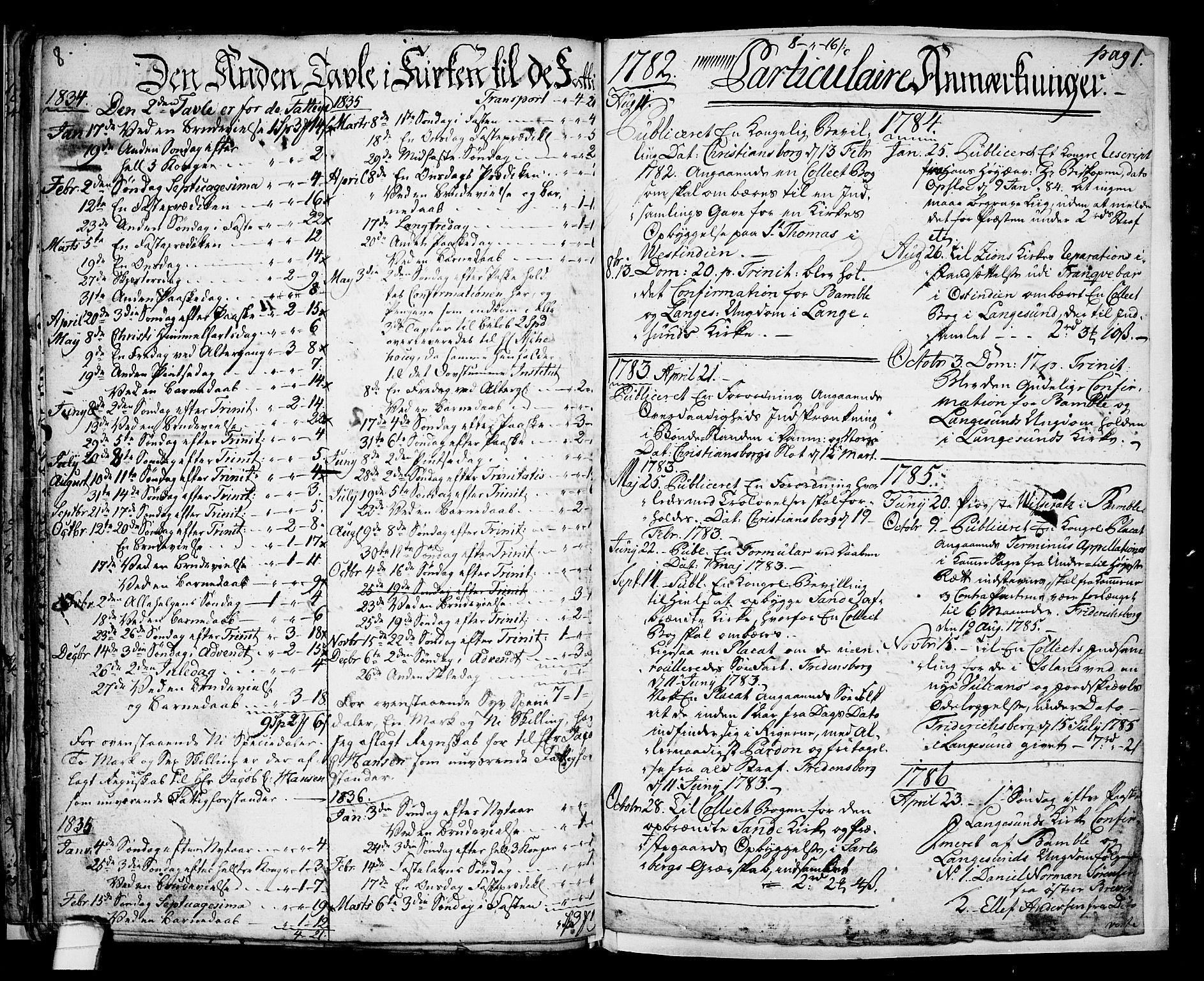 SAKO, Langesund kirkebøker, G/Ga/L0001: Klokkerbok nr. 1, 1783-1801, s. 8-9
