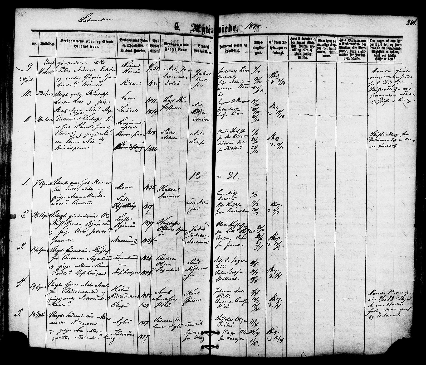 SAT, Ministerialprotokoller, klokkerbøker og fødselsregistre - Nord-Trøndelag, 701/L0009: Ministerialbok nr. 701A09 /1, 1864-1882, s. 264