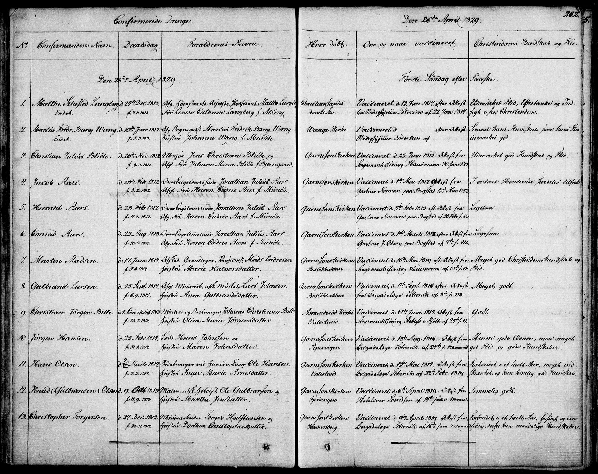 SAO, Garnisonsmenigheten Kirkebøker, F/Fa/L0006: Ministerialbok nr. 6, 1828-1841, s. 262