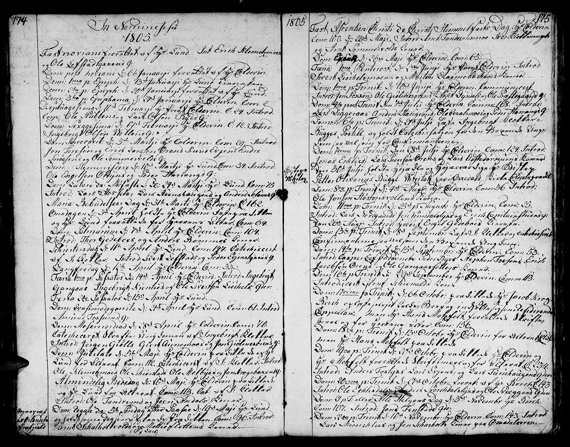 SAT, Ministerialprotokoller, klokkerbøker og fødselsregistre - Sør-Trøndelag, 668/L0815: Klokkerbok nr. 668C04, 1791-1815, s. 174-175