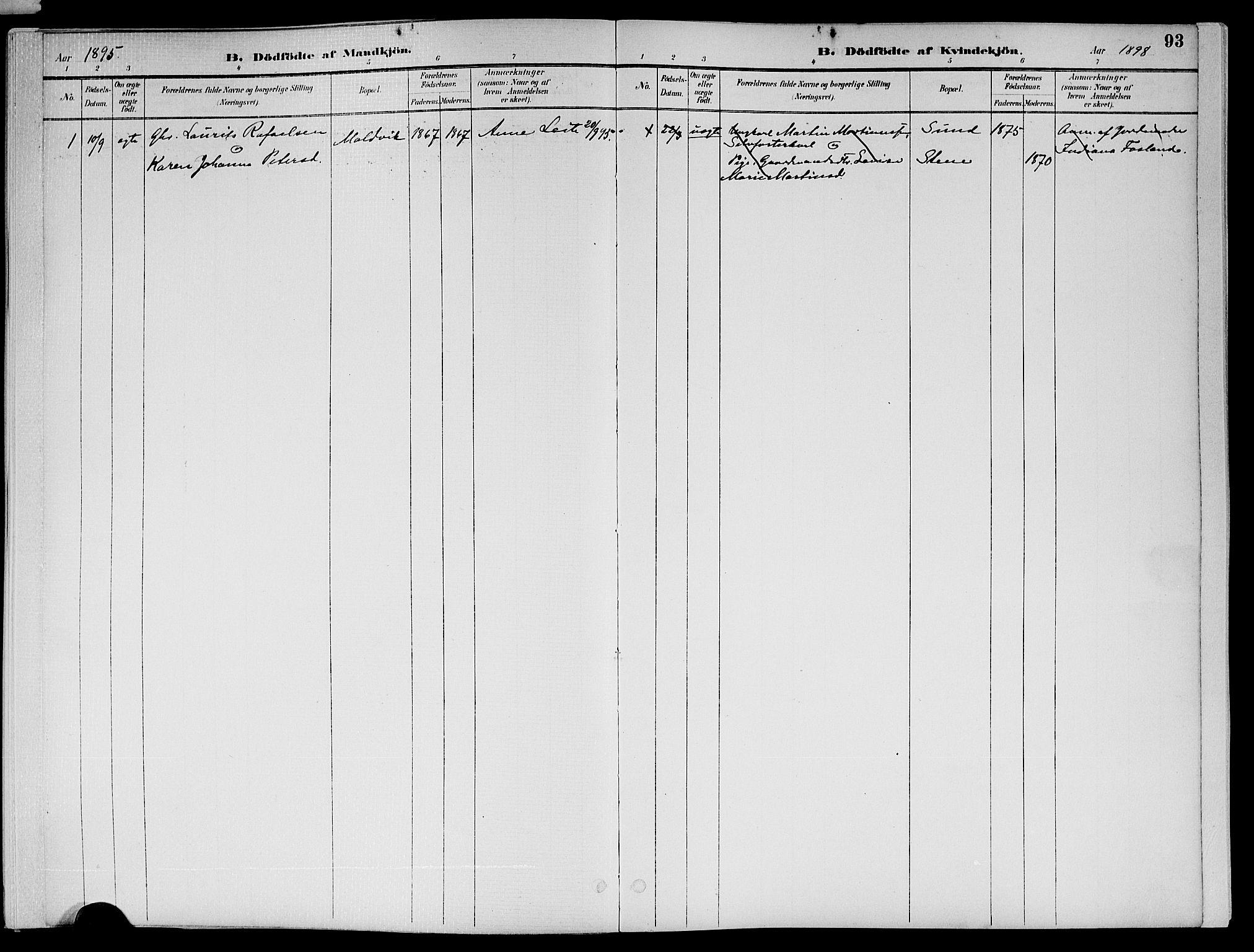 SAT, Ministerialprotokoller, klokkerbøker og fødselsregistre - Nord-Trøndelag, 773/L0617: Ministerialbok nr. 773A08, 1887-1910, s. 93