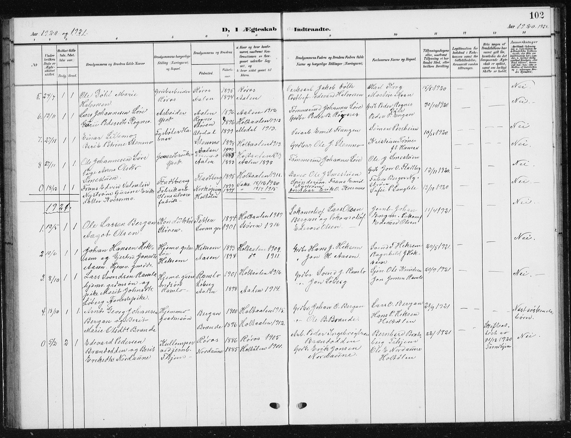 SAT, Ministerialprotokoller, klokkerbøker og fødselsregistre - Sør-Trøndelag, 685/L0979: Klokkerbok nr. 685C04, 1908-1933, s. 102