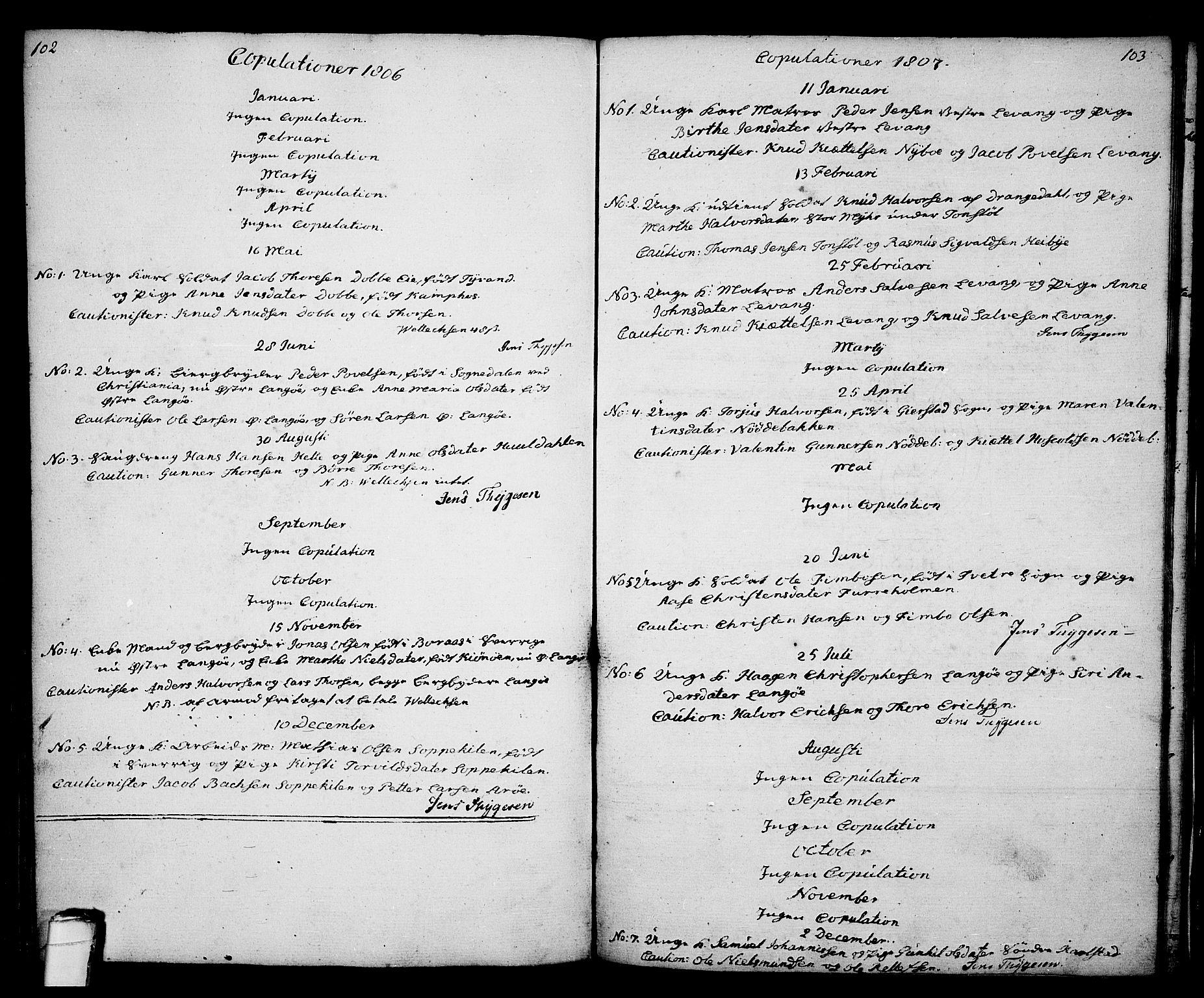 SAKO, Kragerø kirkebøker, G/Ga/L0001: Klokkerbok nr. 1 /2, 1806-1811, s. 102-103