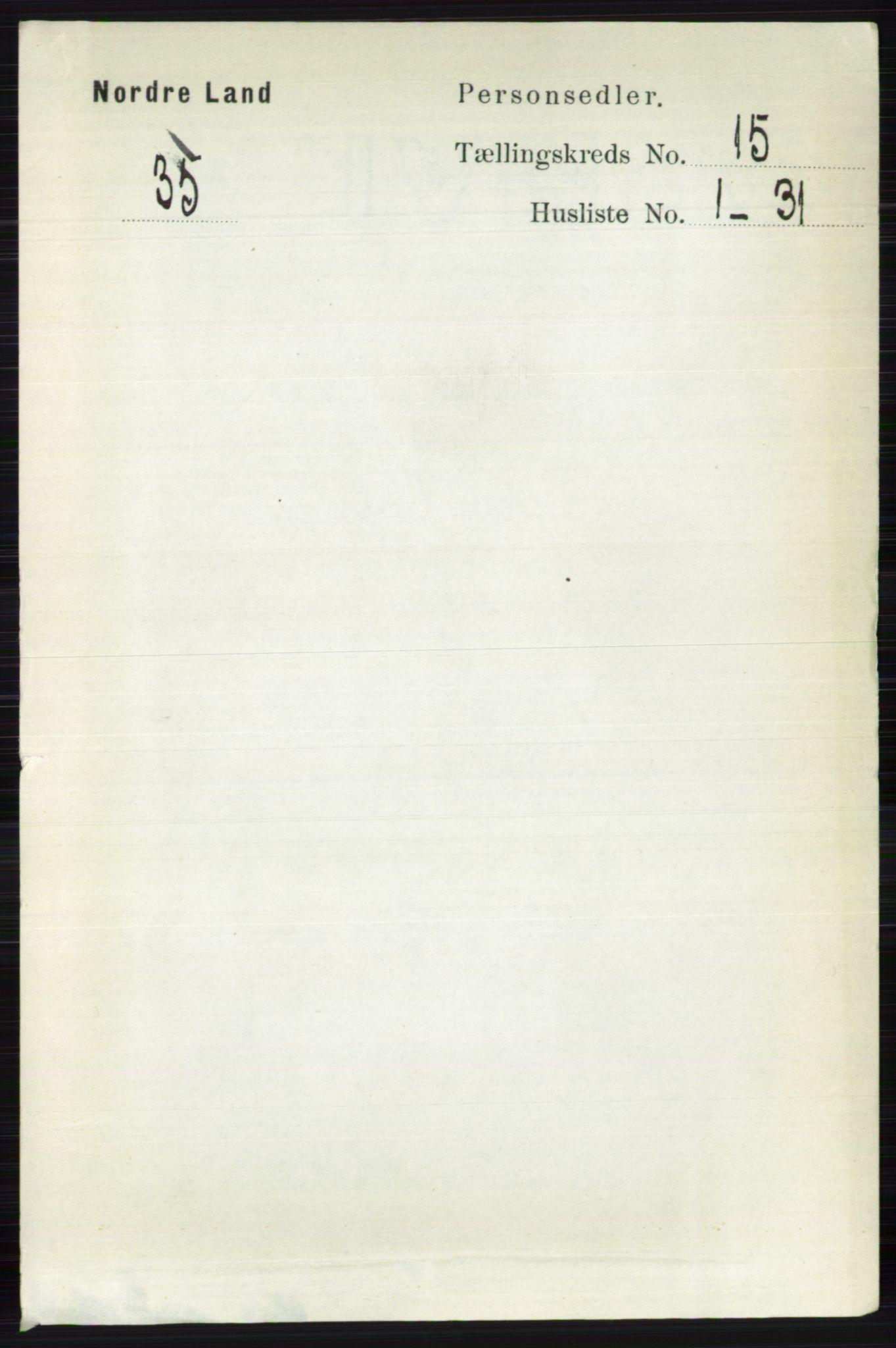 RA, Folketelling 1891 for 0538 Nordre Land herred, 1891, s. 3795