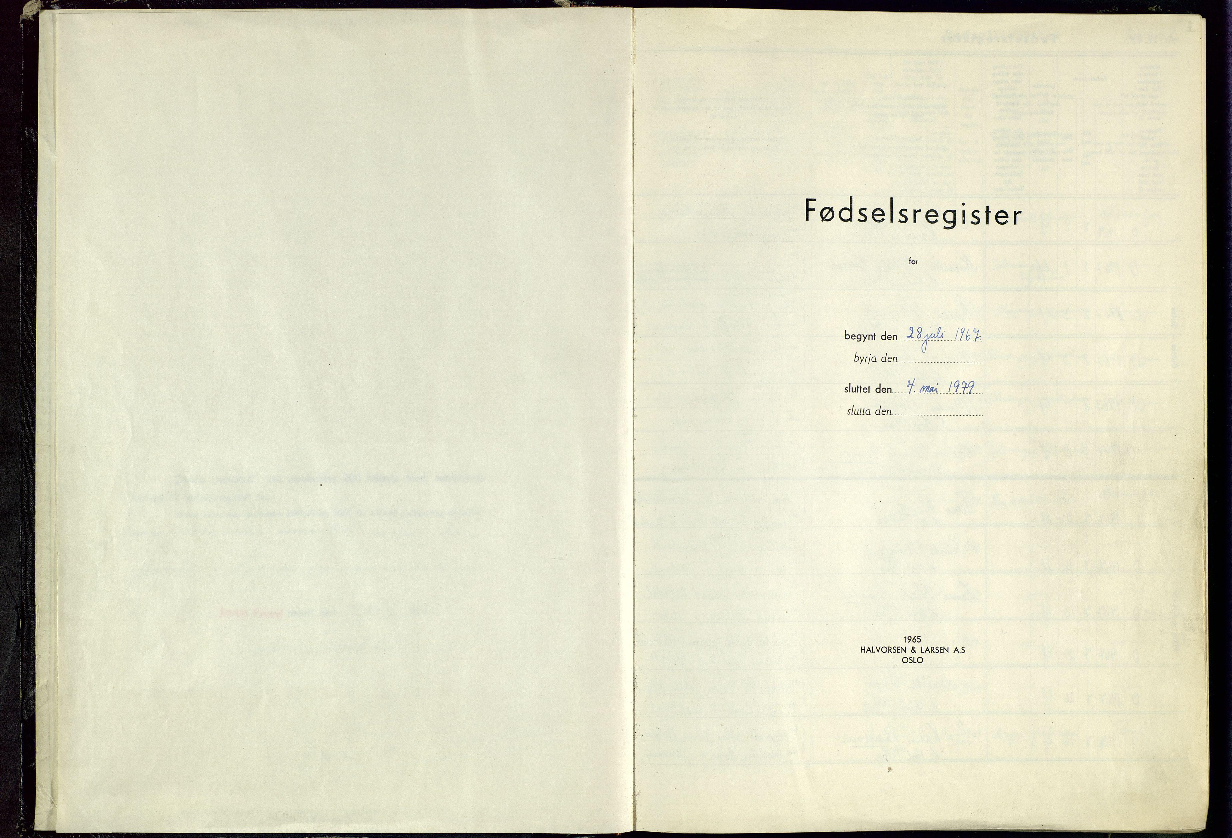 SAST, Høyland sokneprestkontor, O/L0009: Fødselsregister nr. 9, 1967-1979