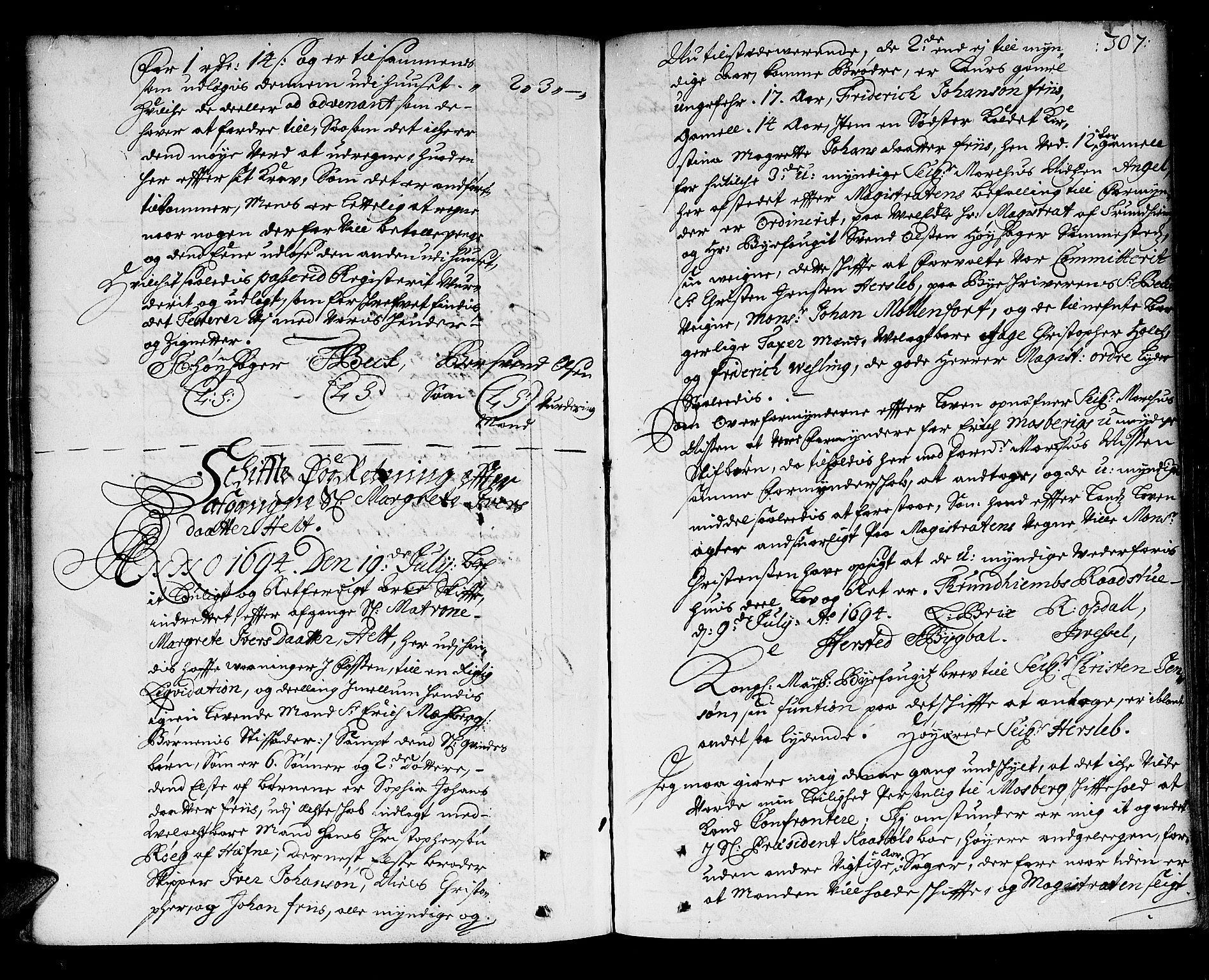 SAT, Trondheim byfogd, 3/3A/L0003: Skifteprotokoll - gml.nr.3. (m/ register), 1690-1696, s. 306b-307a