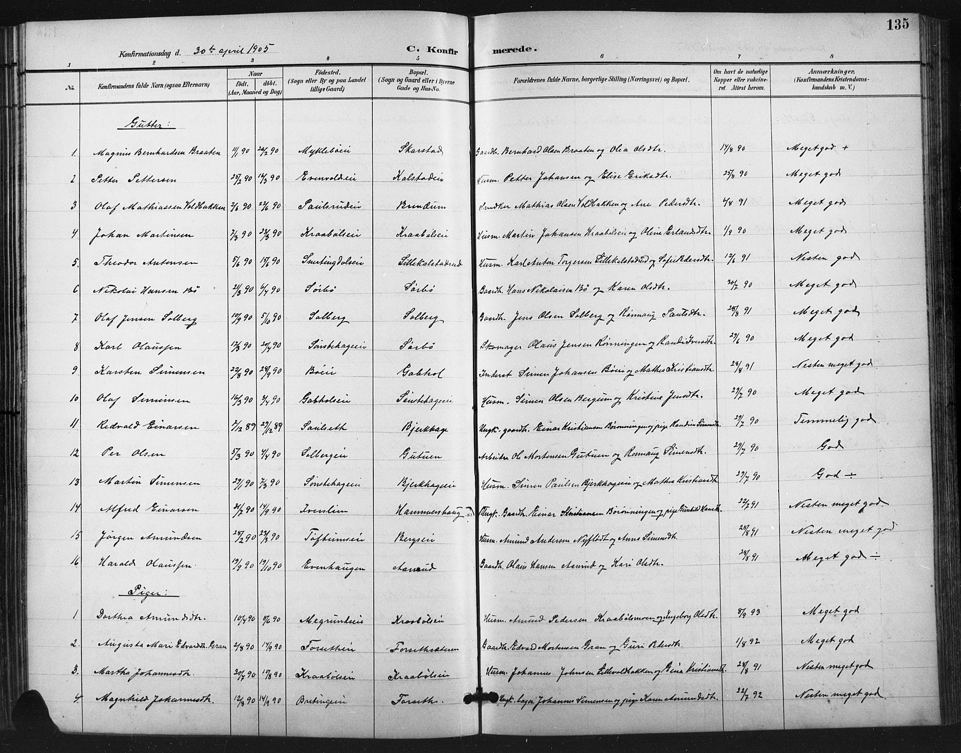 SAH, Vestre Gausdal prestekontor, Klokkerbok nr. 3, 1896-1925, s. 135