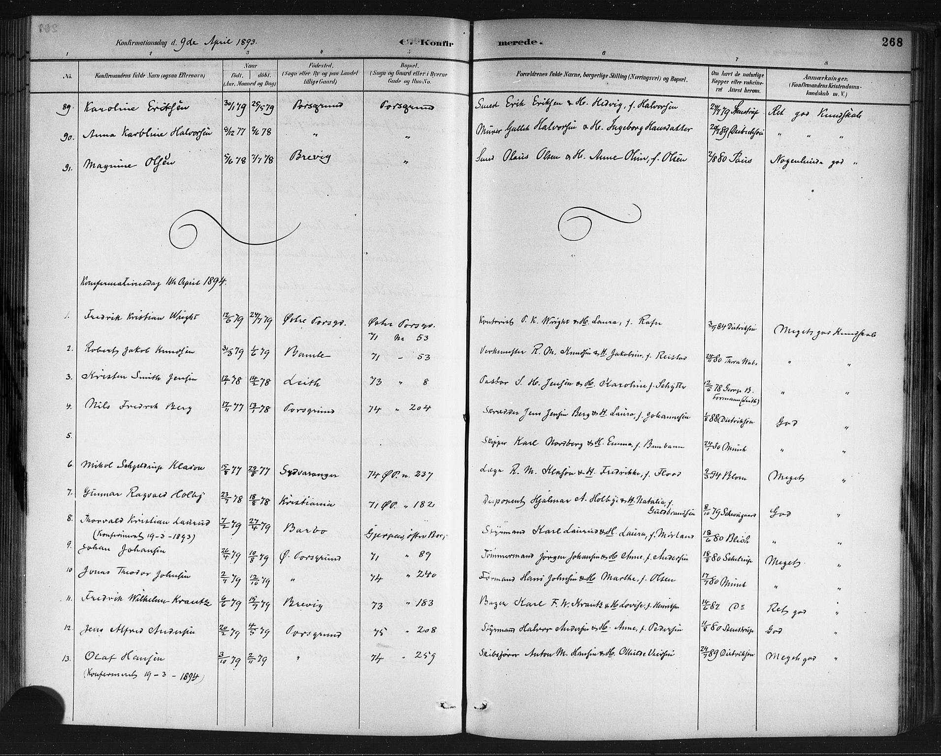 SAKO, Porsgrunn kirkebøker , G/Gb/L0005: Klokkerbok nr. II 5, 1883-1915, s. 268