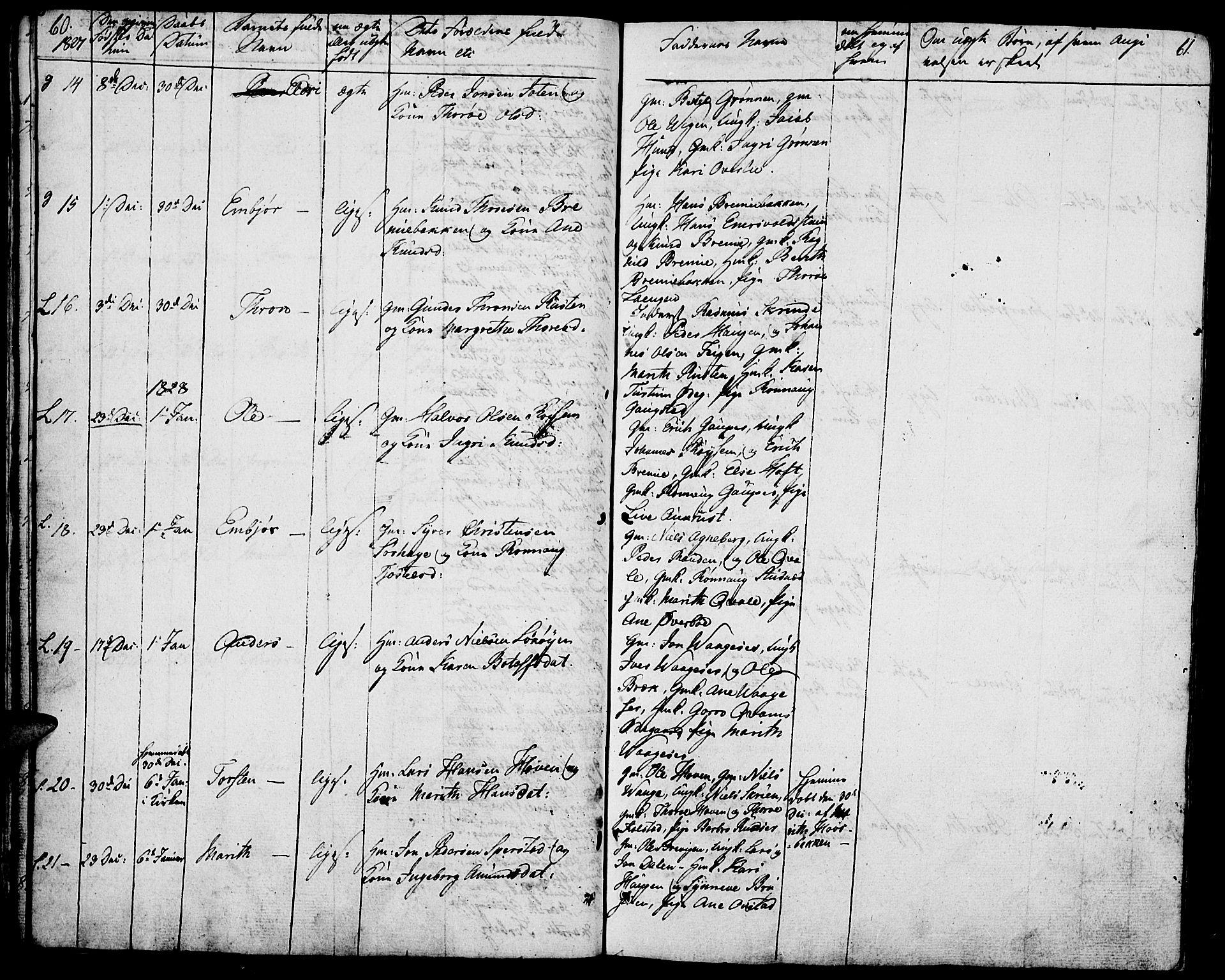 SAH, Lom prestekontor, K/L0005: Ministerialbok nr. 5, 1825-1837, s. 60-61
