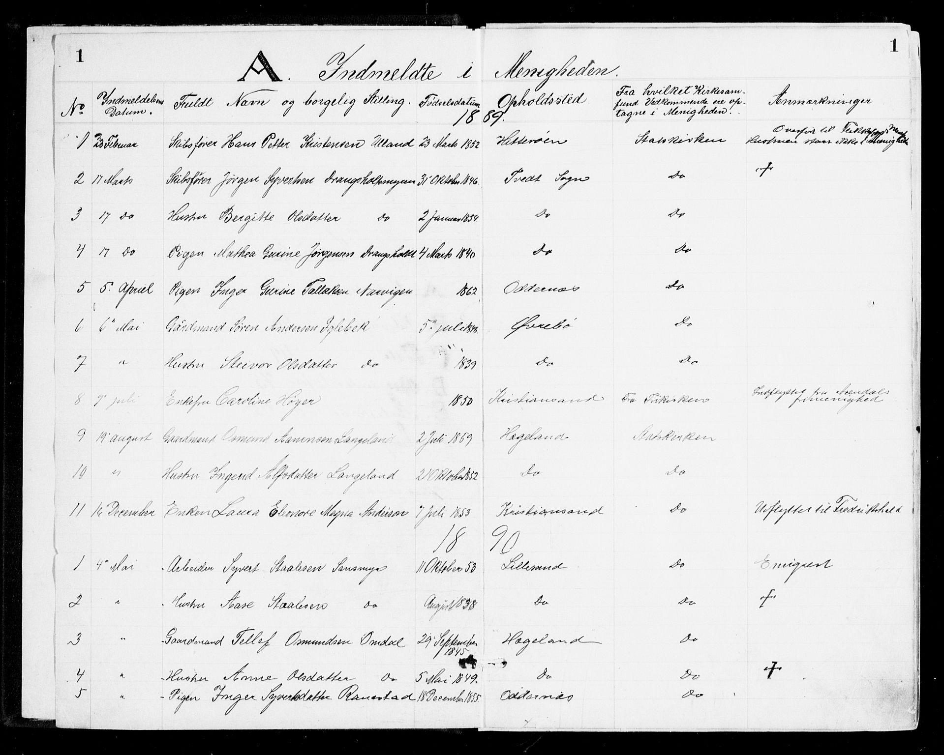 SAK, Den evangelisk-lutherske frikirke, Kristiansand, F/Fa/L0002: Dissenterprotokoll nr. F 10, 1889-1892, s. 1