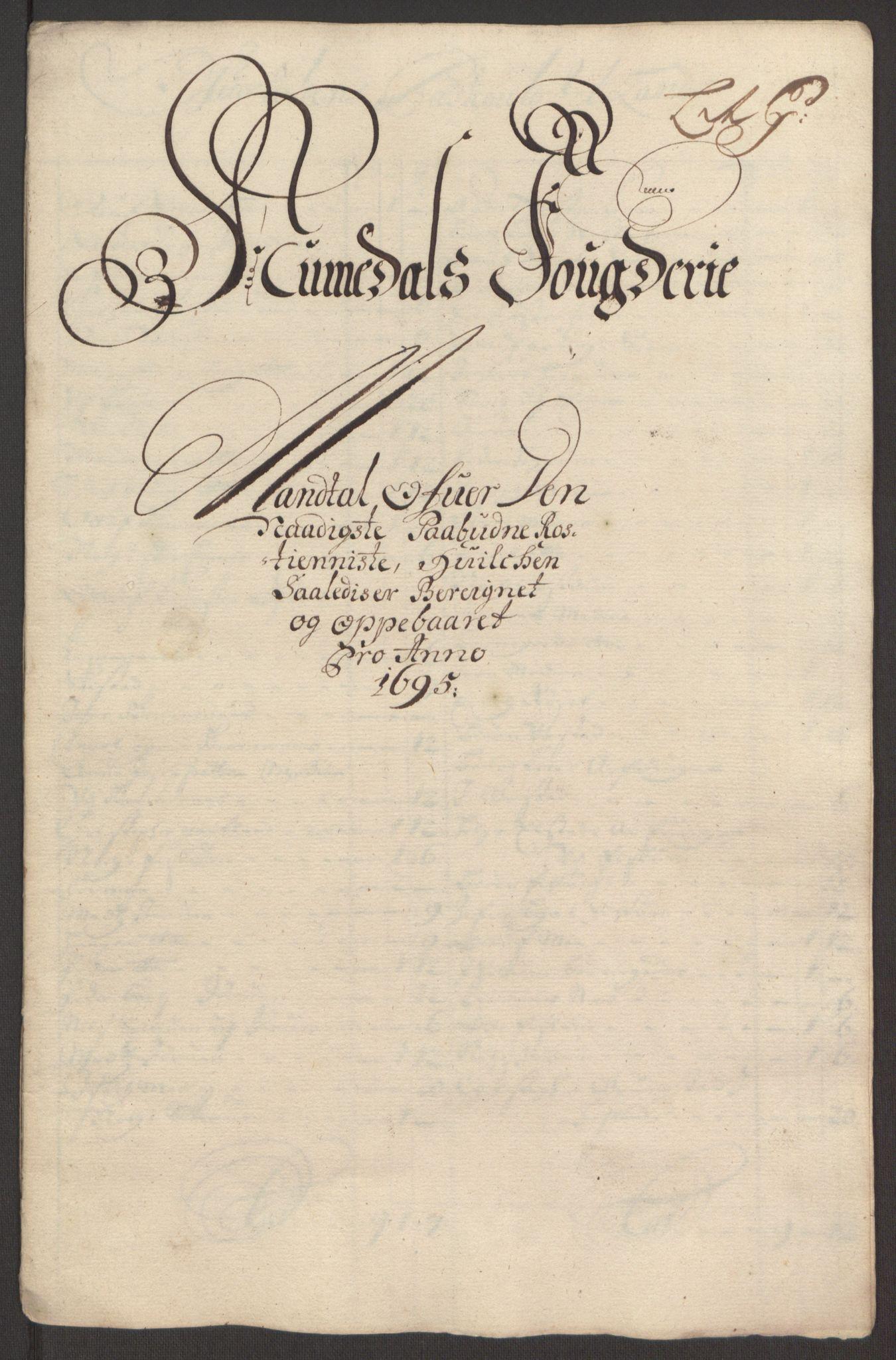 RA, Rentekammeret inntil 1814, Reviderte regnskaper, Fogderegnskap, R64/L4424: Fogderegnskap Namdal, 1692-1695, s. 480