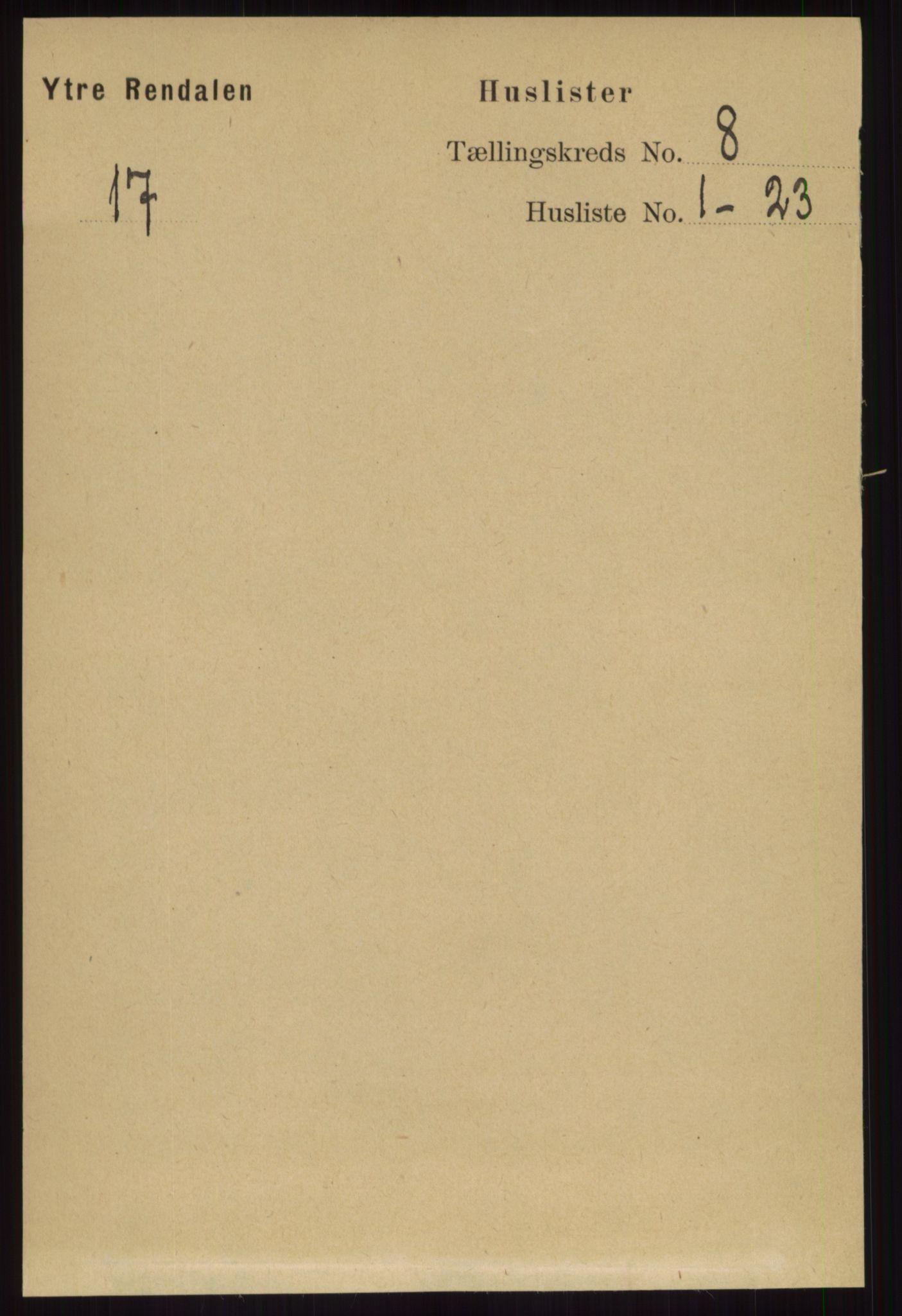RA, Folketelling 1891 for 0432 Ytre Rendal herred, 1891, s. 2043