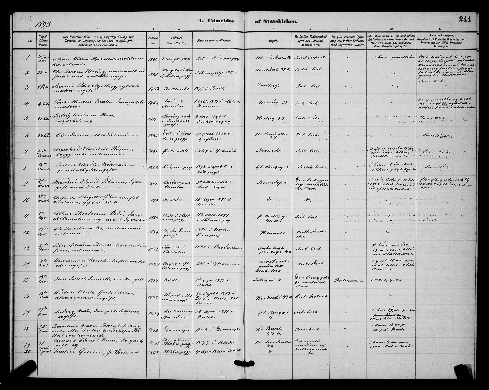 SAT, Ministerialprotokoller, klokkerbøker og fødselsregistre - Sør-Trøndelag, 604/L0223: Klokkerbok nr. 604C06, 1886-1897, s. 244