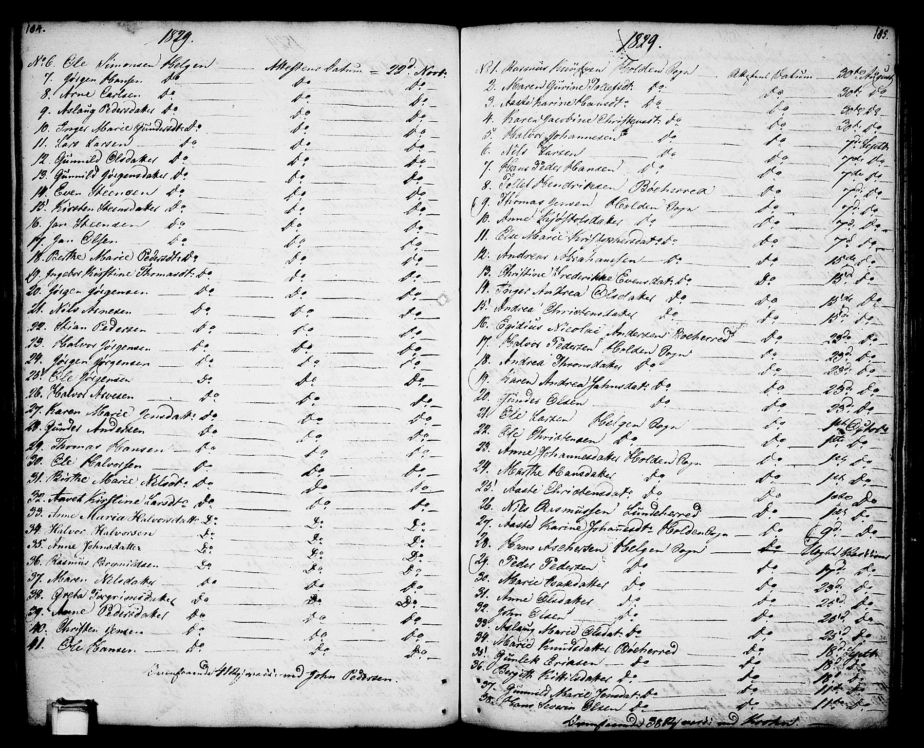 SAKO, Holla kirkebøker, F/Fa/L0002: Ministerialbok nr. 2, 1779-1814, s. 184-185