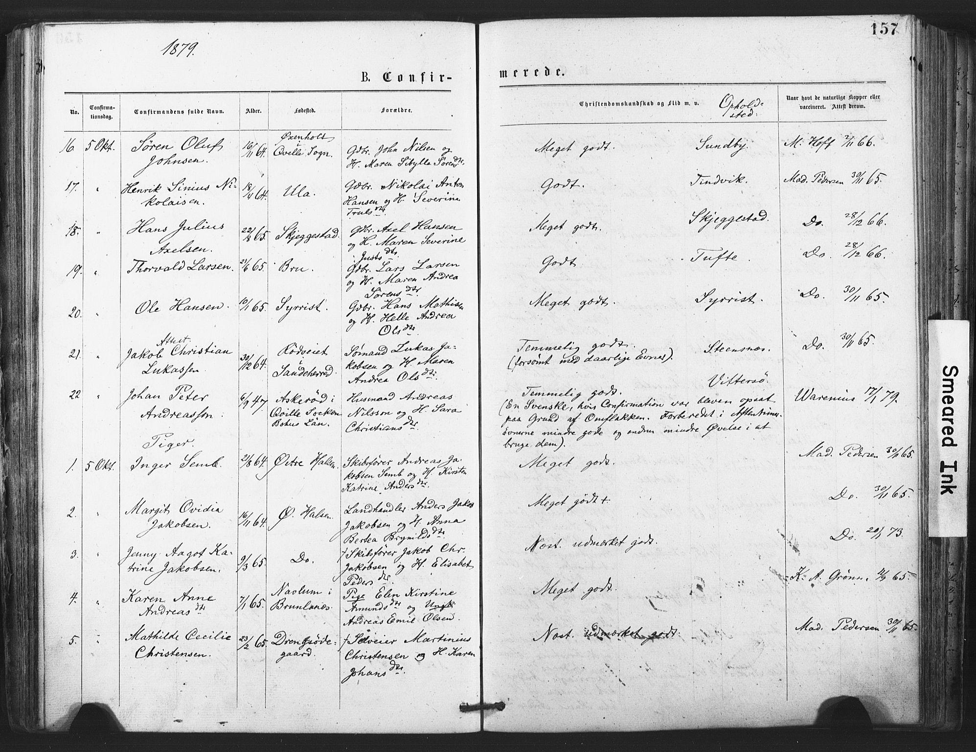 SAKO, Tjølling kirkebøker, F/Fa/L0008: Ministerialbok nr. 8, 1877-1886, s. 157