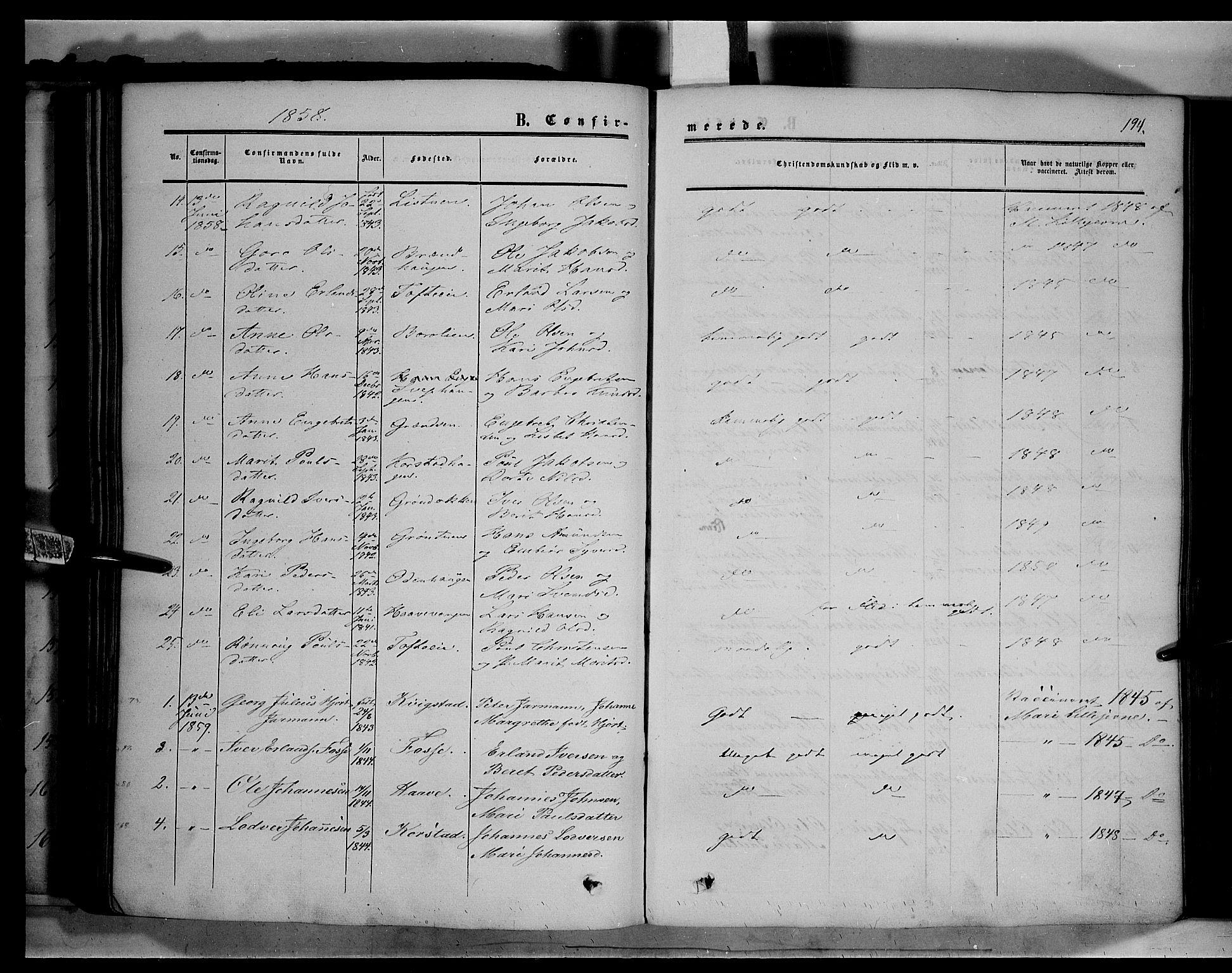 SAH, Sør-Fron prestekontor, H/Ha/Haa/L0001: Ministerialbok nr. 1, 1849-1863, s. 194