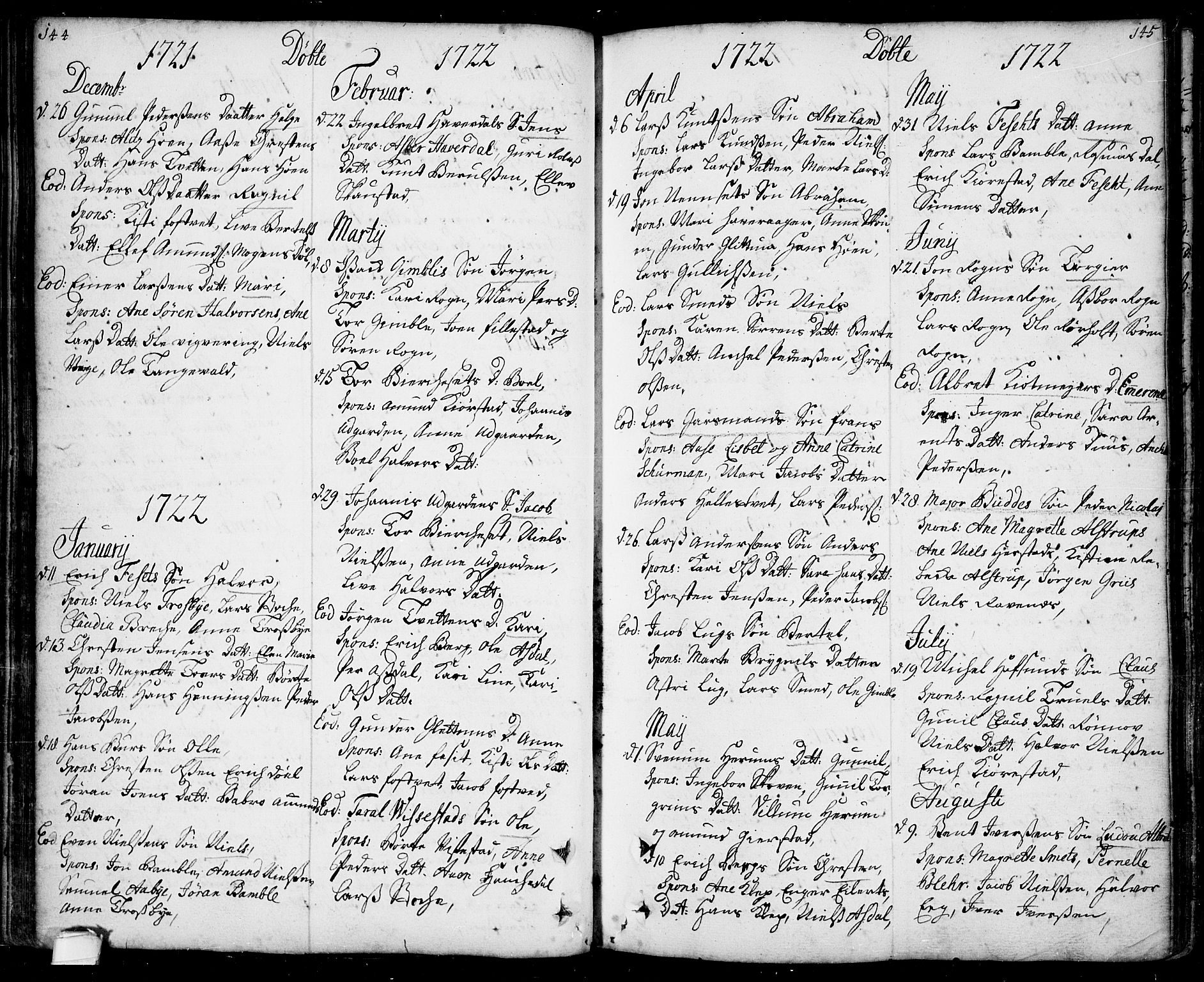 SAKO, Bamble kirkebøker, F/Fa/L0001: Ministerialbok nr. I 1, 1702-1774, s. 144-145