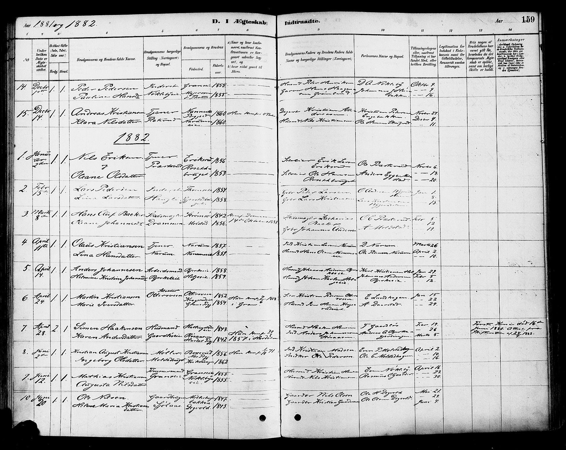 SAH, Vestre Toten prestekontor, Ministerialbok nr. 10, 1878-1894, s. 159