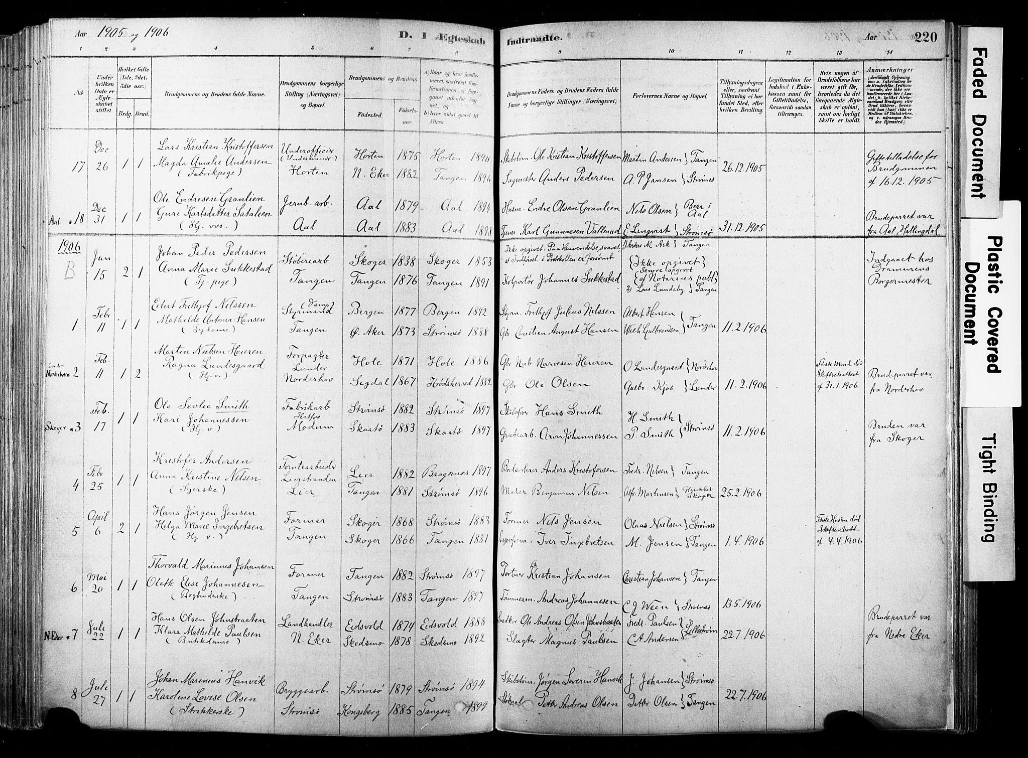 SAKO, Strømsø kirkebøker, F/Fb/L0006: Ministerialbok nr. II 6, 1879-1910, s. 220