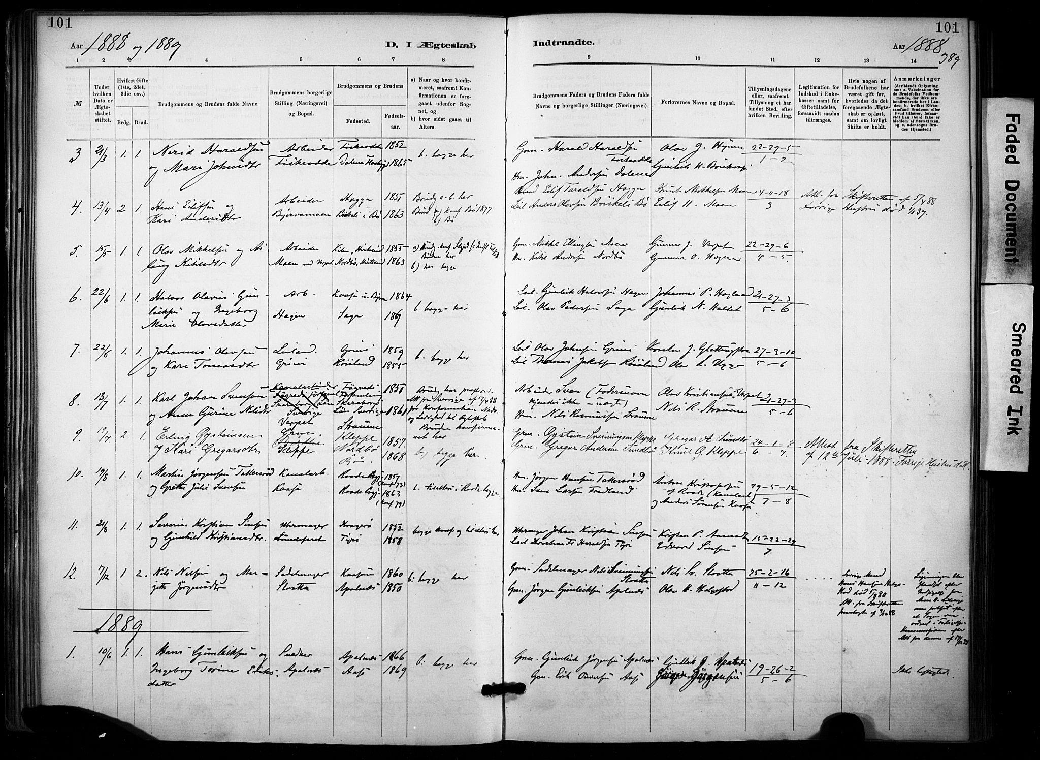 SAKO, Lunde kirkebøker, F/Fa/L0002: Ministerialbok nr. I 2, 1884-1892, s. 101