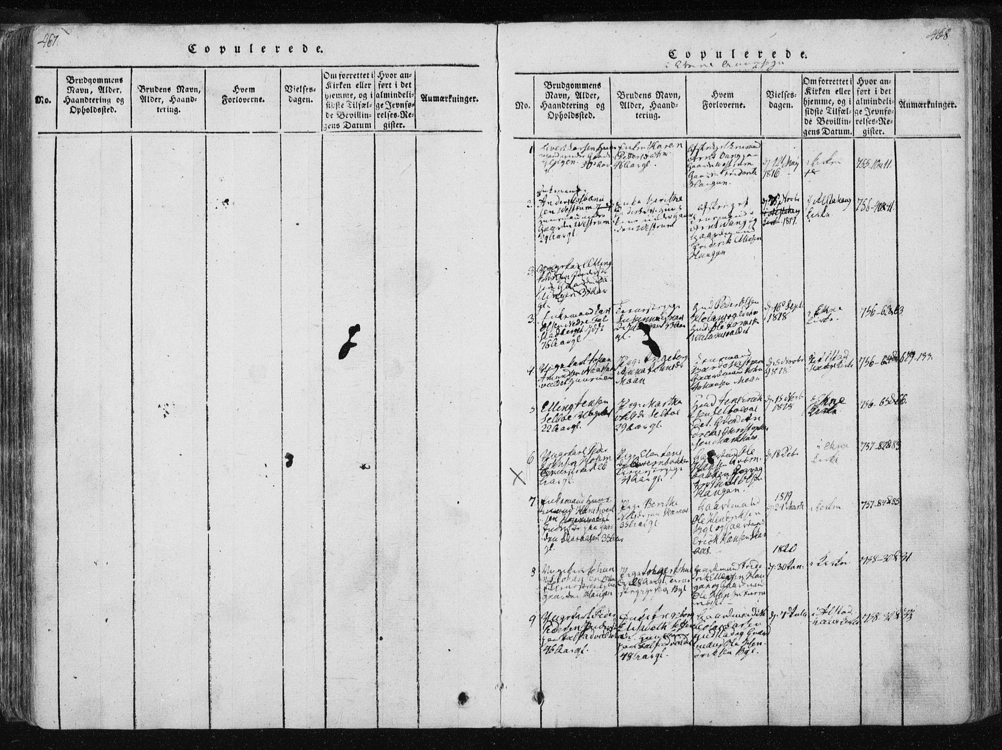 SAT, Ministerialprotokoller, klokkerbøker og fødselsregistre - Nord-Trøndelag, 717/L0148: Ministerialbok nr. 717A04 /3, 1816-1825, s. 467-468