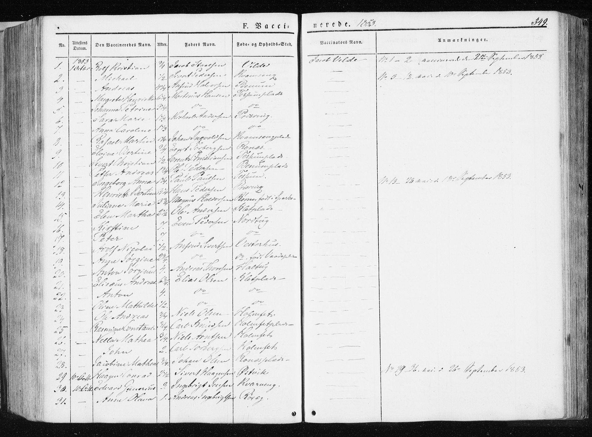 SAT, Ministerialprotokoller, klokkerbøker og fødselsregistre - Nord-Trøndelag, 741/L0393: Ministerialbok nr. 741A07, 1849-1863, s. 349