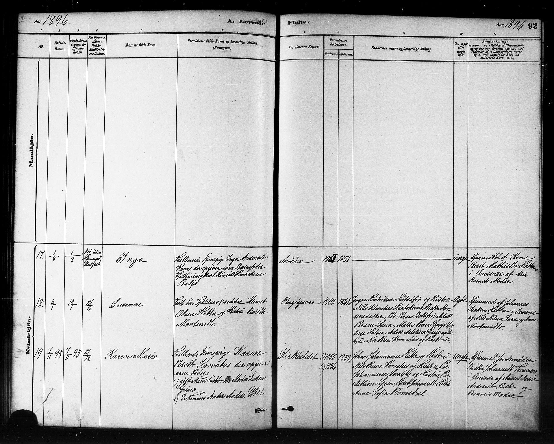 SATØ, Kautokeino sokneprestembete, H/Hb/L0002.klokk: Klokkerbok nr. 2, 1877-1896, s. 92