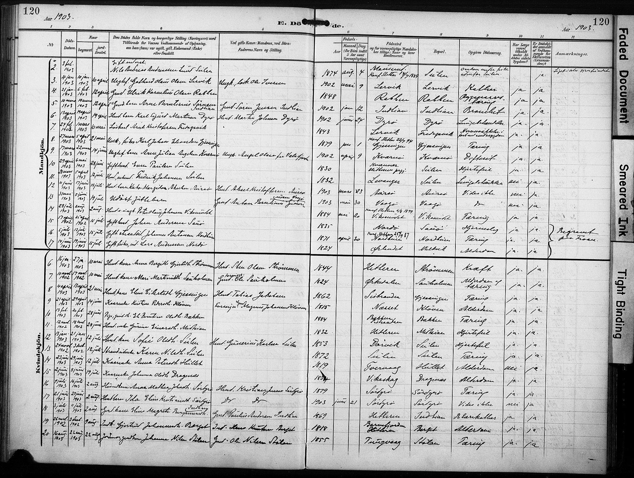 SAT, Ministerialprotokoller, klokkerbøker og fødselsregistre - Sør-Trøndelag, 640/L0580: Ministerialbok nr. 640A05, 1902-1910, s. 120
