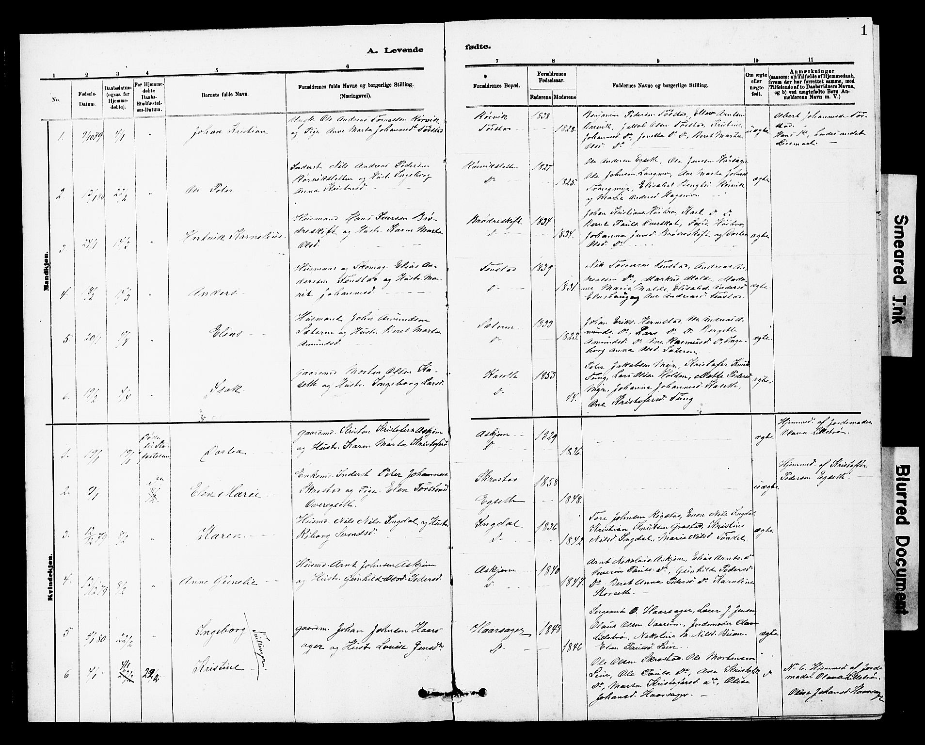 SAT, Ministerialprotokoller, klokkerbøker og fødselsregistre - Sør-Trøndelag, 646/L0628: Klokkerbok nr. 646C01, 1880-1903, s. 1