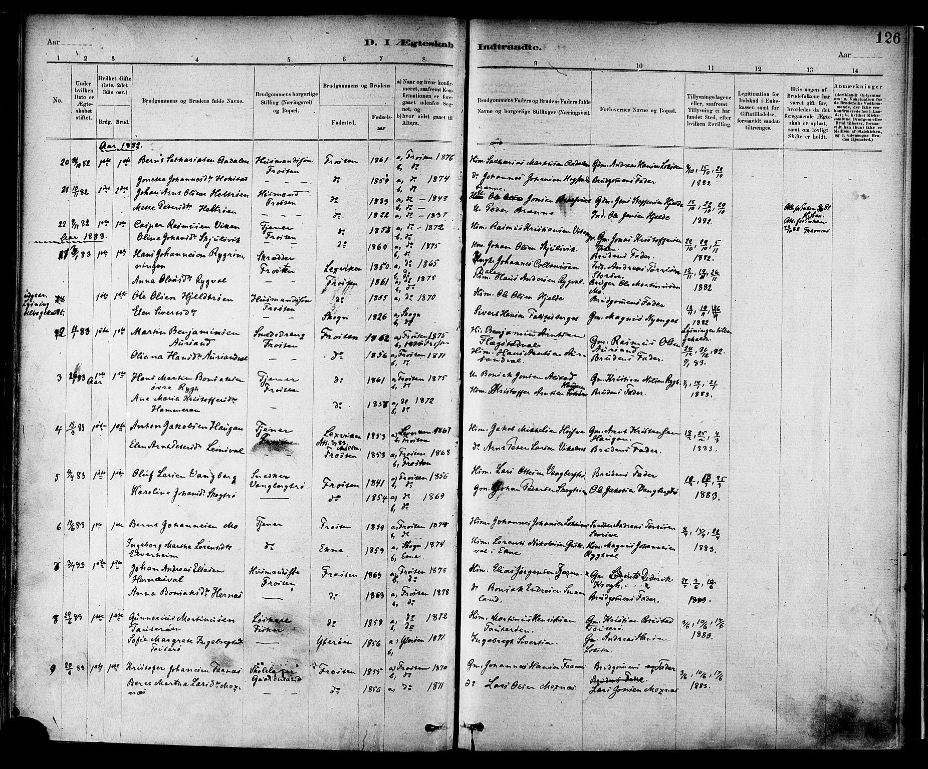 SAT, Ministerialprotokoller, klokkerbøker og fødselsregistre - Nord-Trøndelag, 713/L0120: Ministerialbok nr. 713A09, 1878-1887, s. 126
