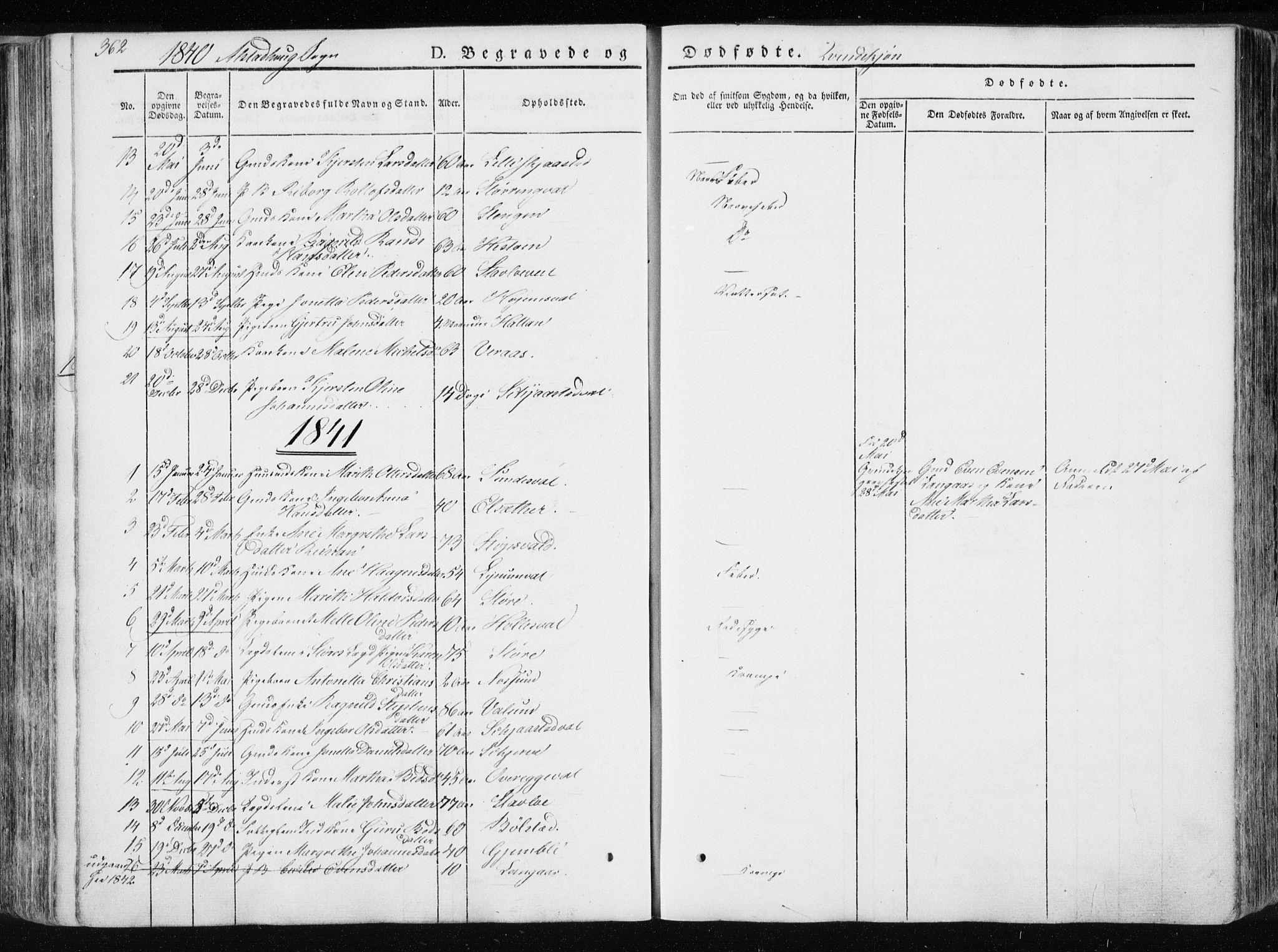 SAT, Ministerialprotokoller, klokkerbøker og fødselsregistre - Nord-Trøndelag, 717/L0154: Ministerialbok nr. 717A06 /1, 1836-1849, s. 362