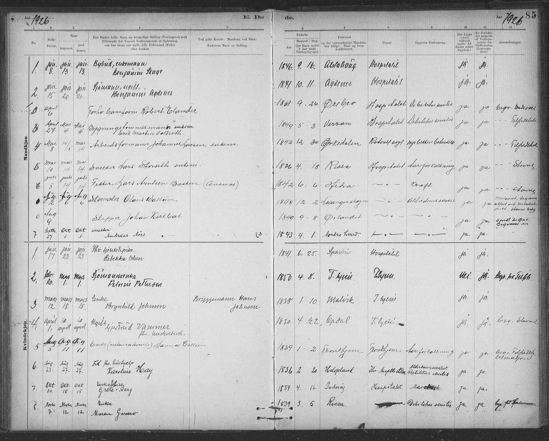 SAT, Ministerialprotokoller, klokkerbøker og fødselsregistre - Sør-Trøndelag, 623/L0470: Ministerialbok nr. 623A04, 1884-1938, s. 85