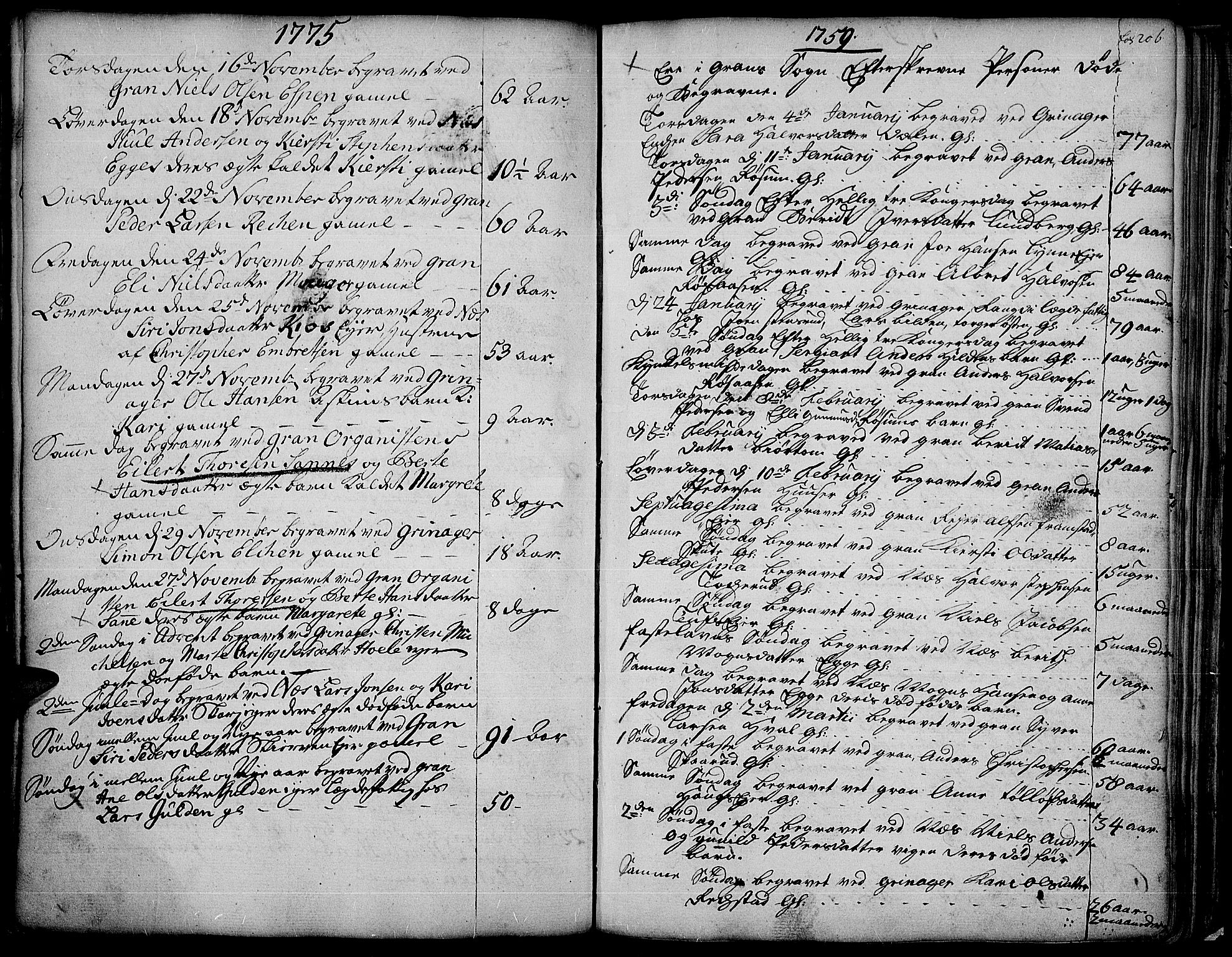 SAH, Gran prestekontor, Ministerialbok nr. 4, 1759-1775, s. 206