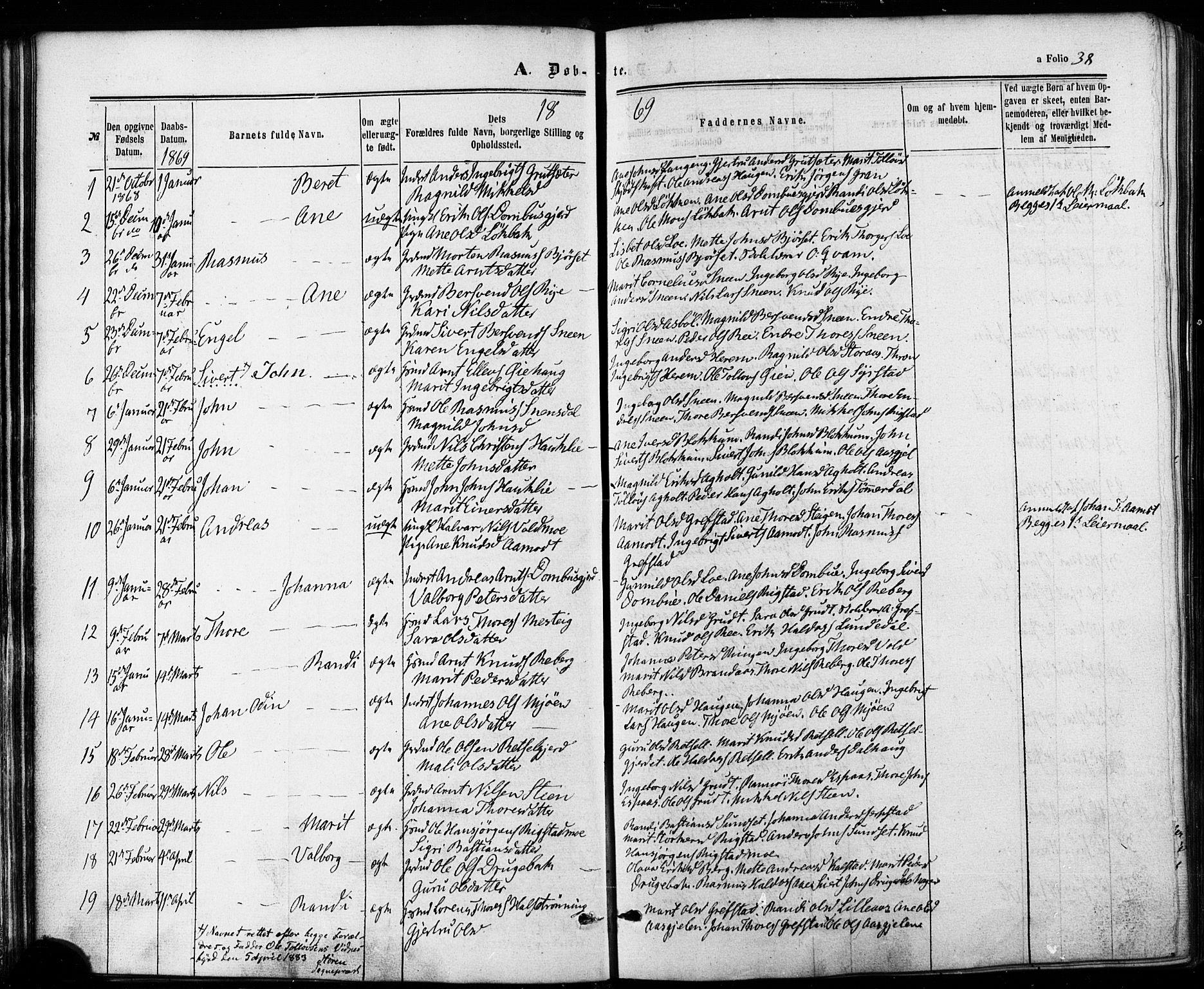 SAT, Ministerialprotokoller, klokkerbøker og fødselsregistre - Sør-Trøndelag, 672/L0856: Ministerialbok nr. 672A08, 1861-1881, s. 38