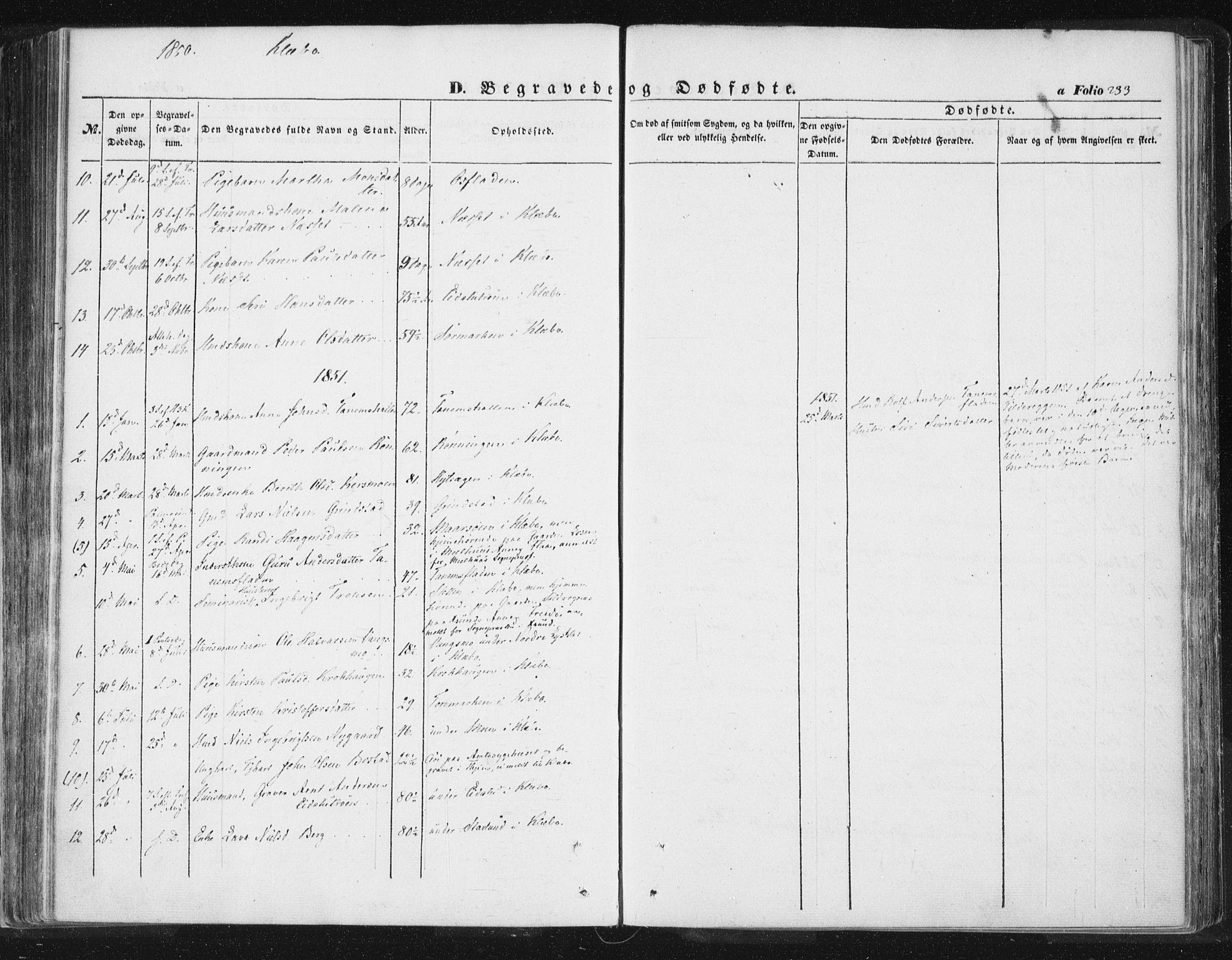 SAT, Ministerialprotokoller, klokkerbøker og fødselsregistre - Sør-Trøndelag, 618/L0441: Ministerialbok nr. 618A05, 1843-1862, s. 233