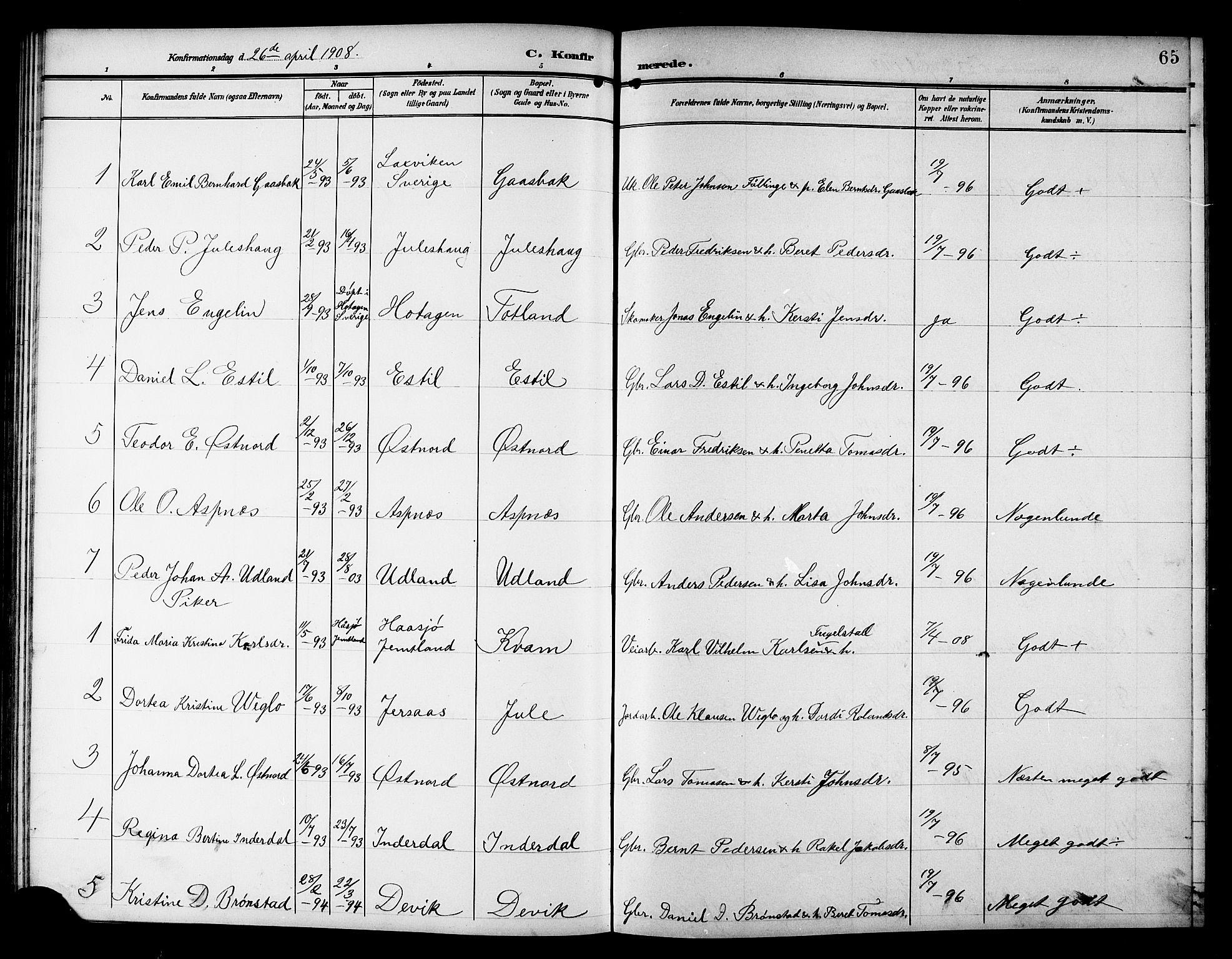 SAT, Ministerialprotokoller, klokkerbøker og fødselsregistre - Nord-Trøndelag, 757/L0506: Klokkerbok nr. 757C01, 1904-1922, s. 65