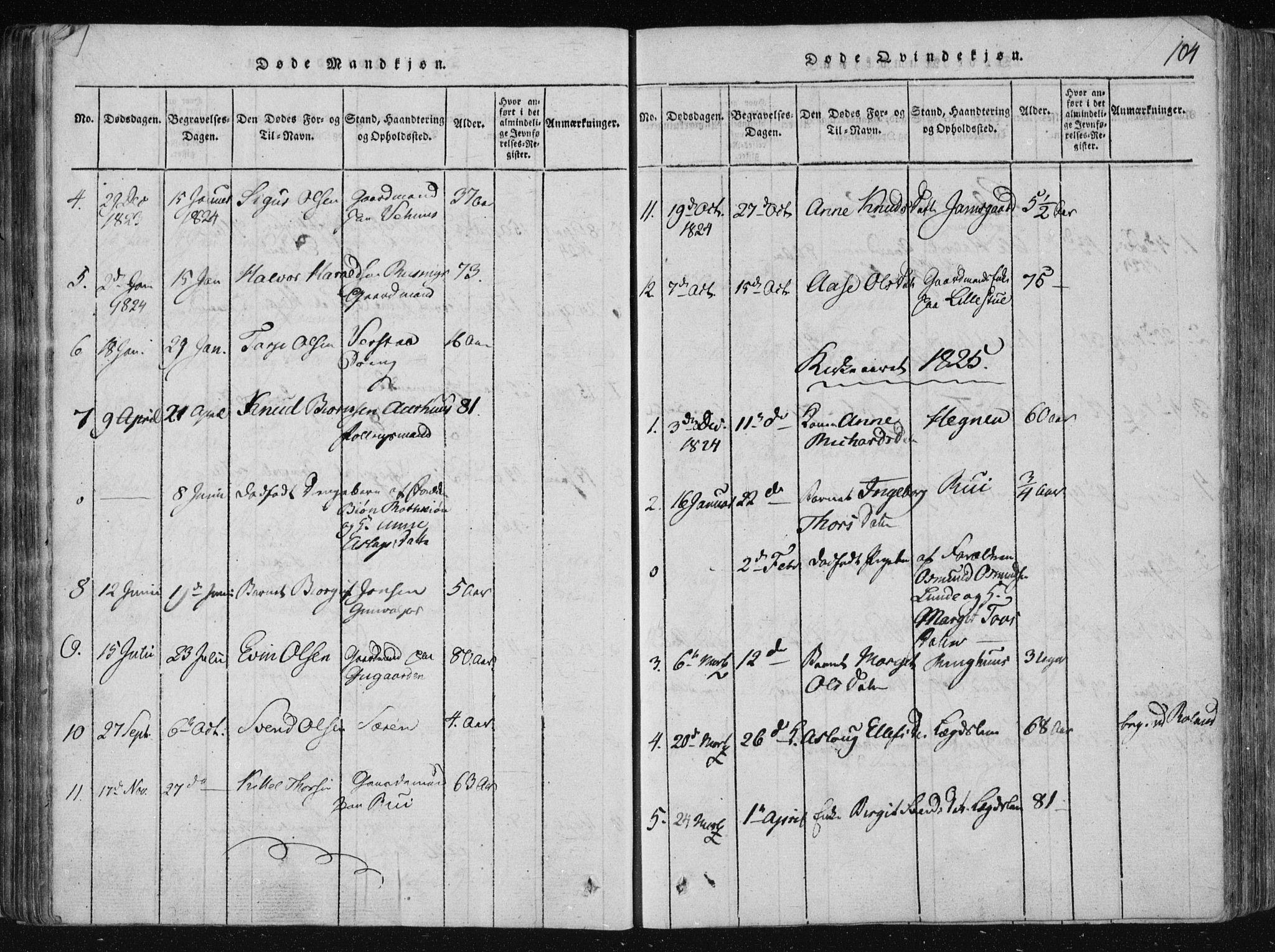 SAKO, Vinje kirkebøker, F/Fa/L0003: Ministerialbok nr. I 3, 1814-1843, s. 104