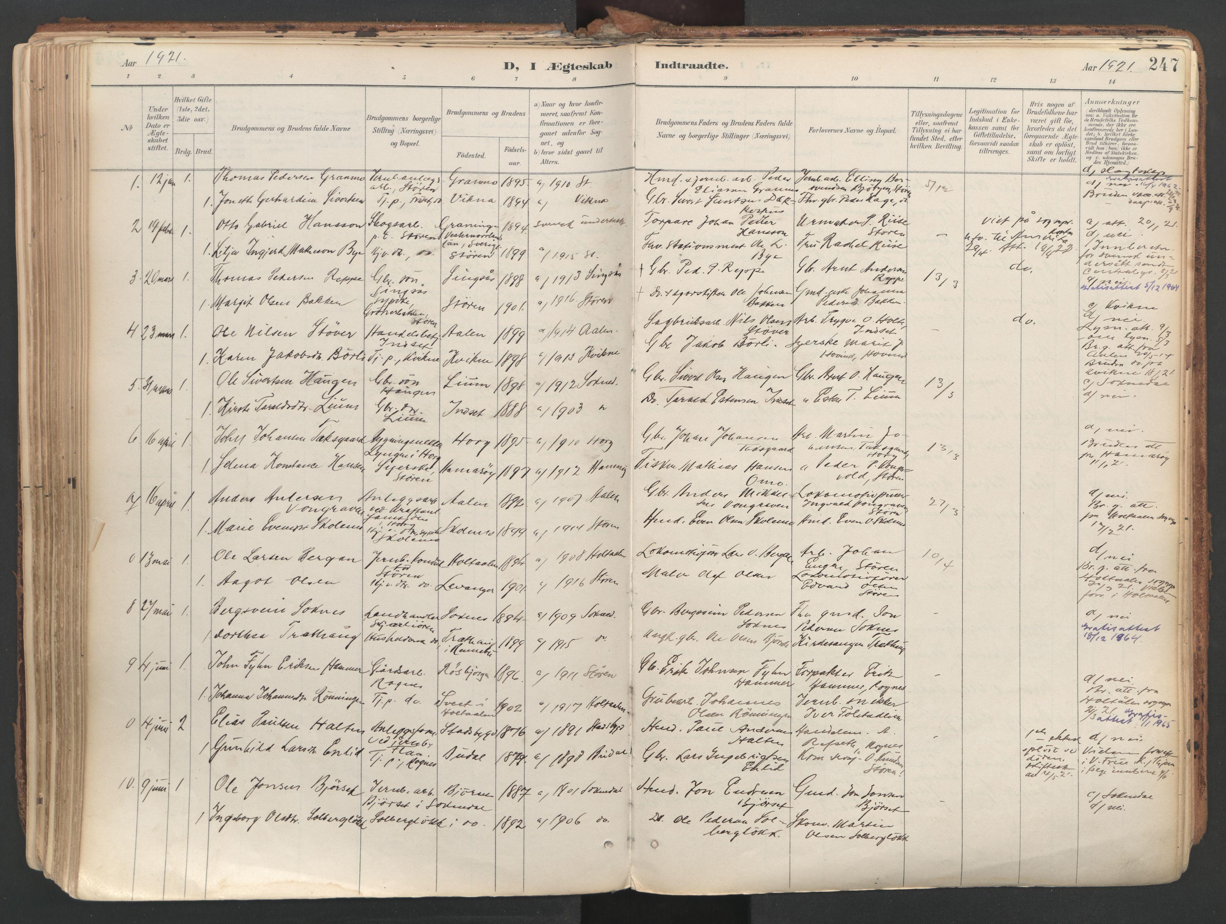 SAT, Ministerialprotokoller, klokkerbøker og fødselsregistre - Sør-Trøndelag, 687/L1004: Ministerialbok nr. 687A10, 1891-1923, s. 247