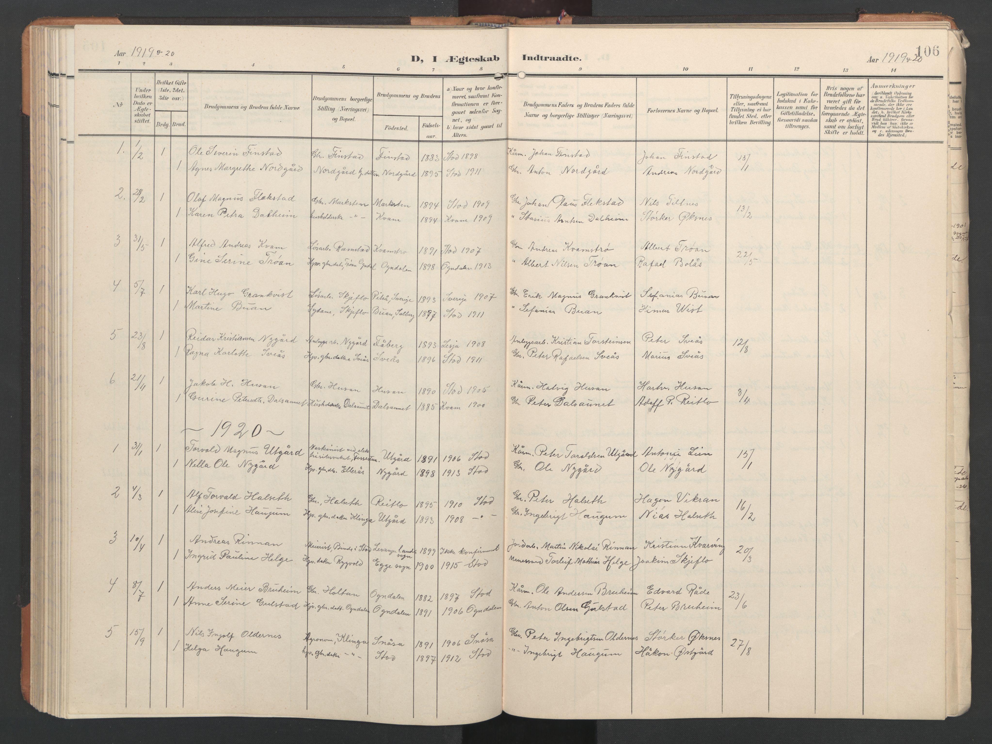 SAT, Ministerialprotokoller, klokkerbøker og fødselsregistre - Nord-Trøndelag, 746/L0455: Klokkerbok nr. 746C01, 1908-1933, s. 106
