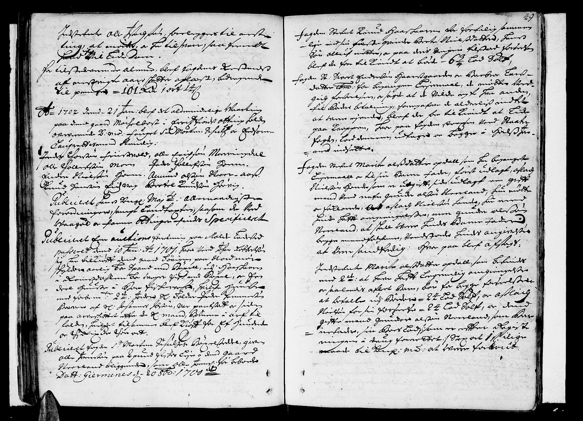 SAT, Romsdal sorenskriveri, 1/1A/L0004: Tingbok, 1700-1705, s. 48b-49a