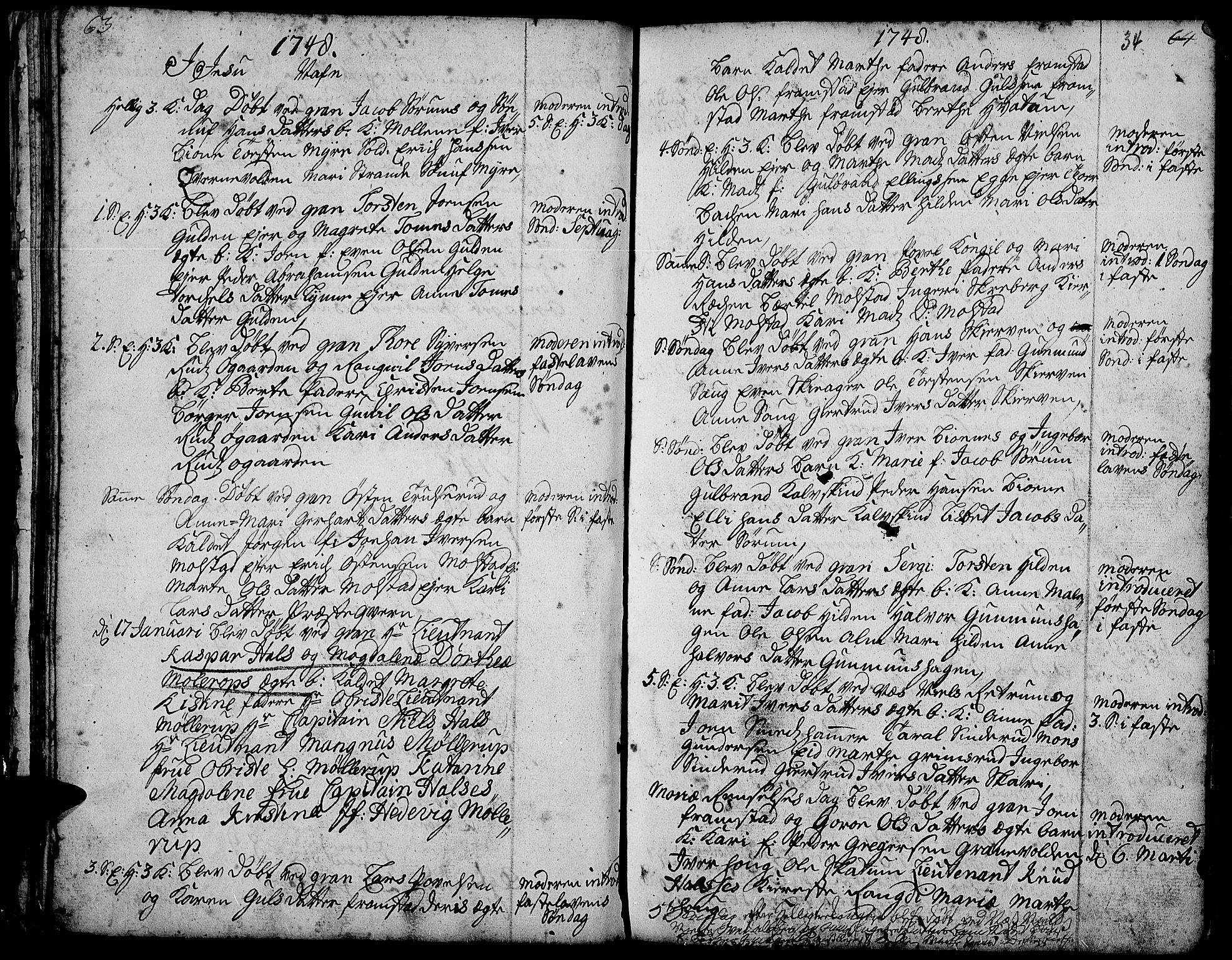 SAH, Gran prestekontor, Ministerialbok nr. 3, 1745-1758, s. 34