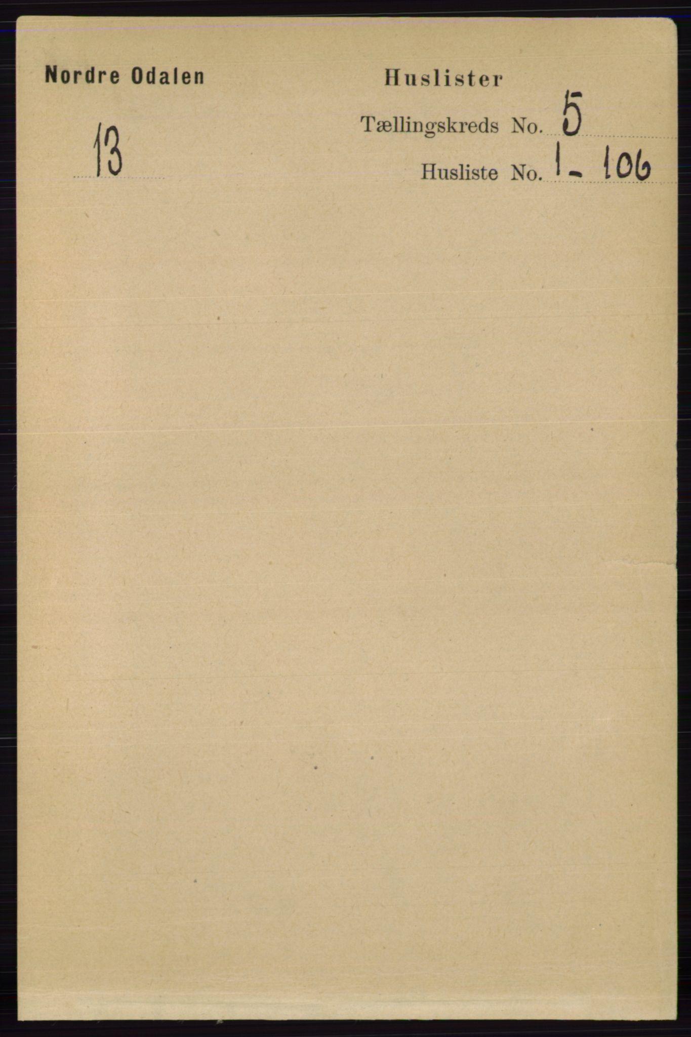 RA, Folketelling 1891 for 0418 Nord-Odal herred, 1891, s. 1438