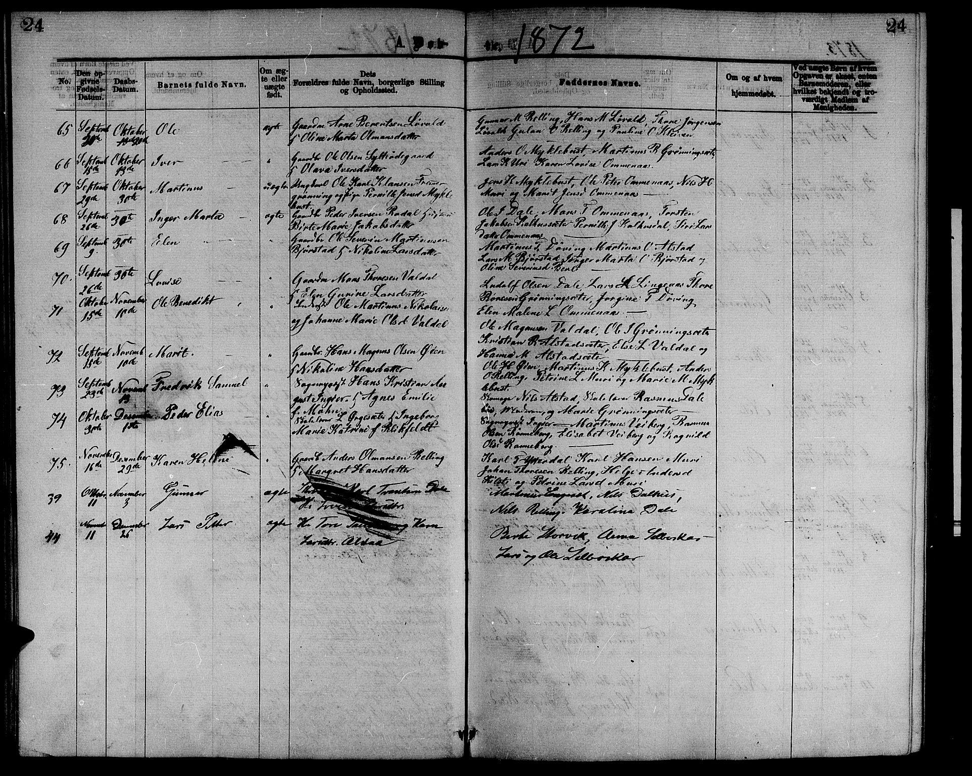 SAT, Ministerialprotokoller, klokkerbøker og fødselsregistre - Møre og Romsdal, 519/L0262: Klokkerbok nr. 519C03, 1866-1884, s. 24